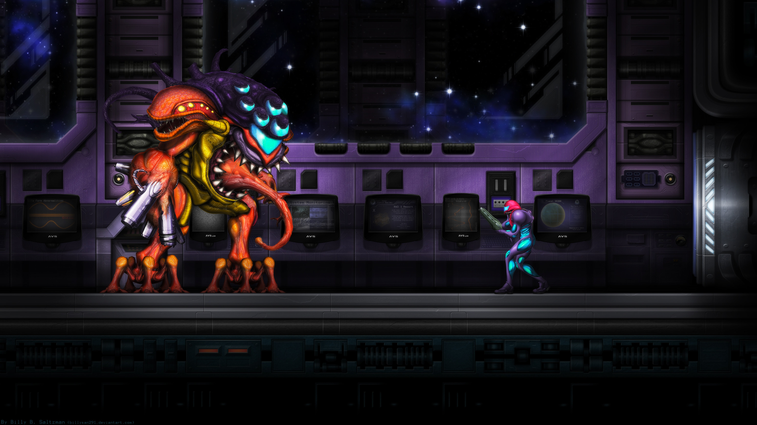 2961x1662 Metroid Fusion Final Boss background ...
