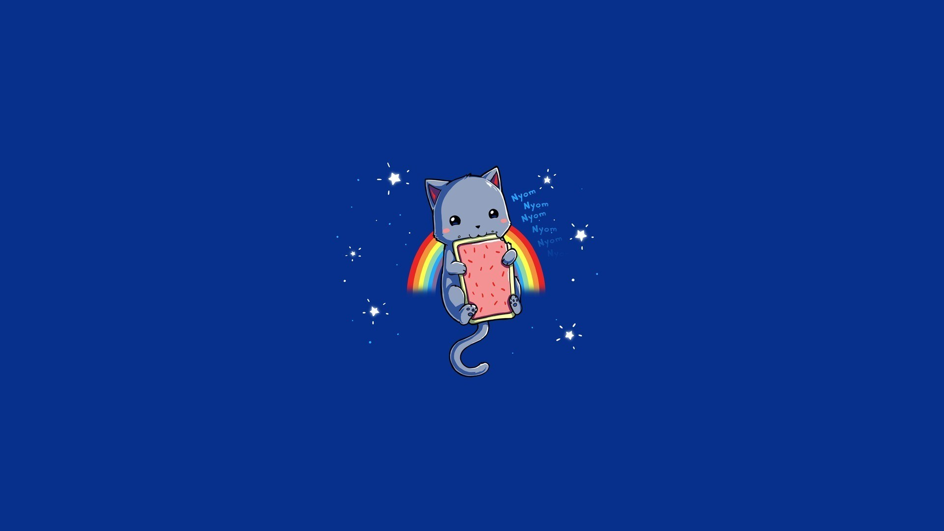 1920x1080 Cartoon - Nyan Cat Rainbow Blue Meme Wallpaper