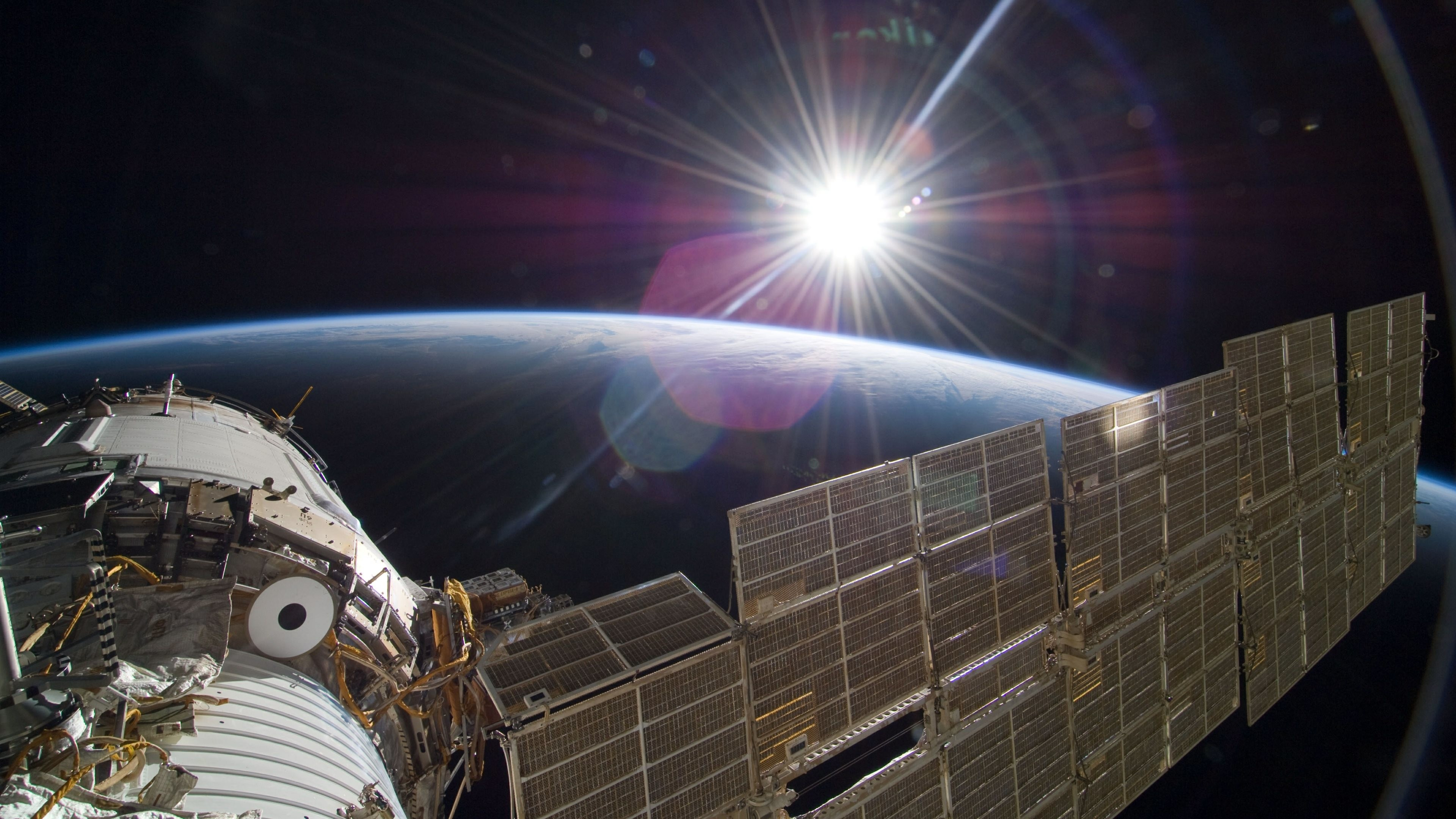 3840x2160 4K HD Wallpaper: Sun Over Earth (NASA, International Space Station Science)