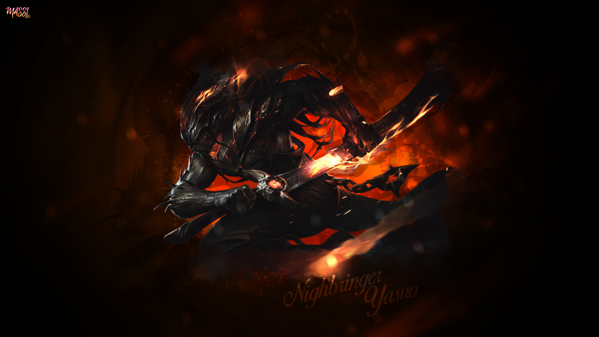 1920x1080 Nightbringer Yasuo by Massi001 HD Wallpaper Background Official Artwork  League of Legends lol