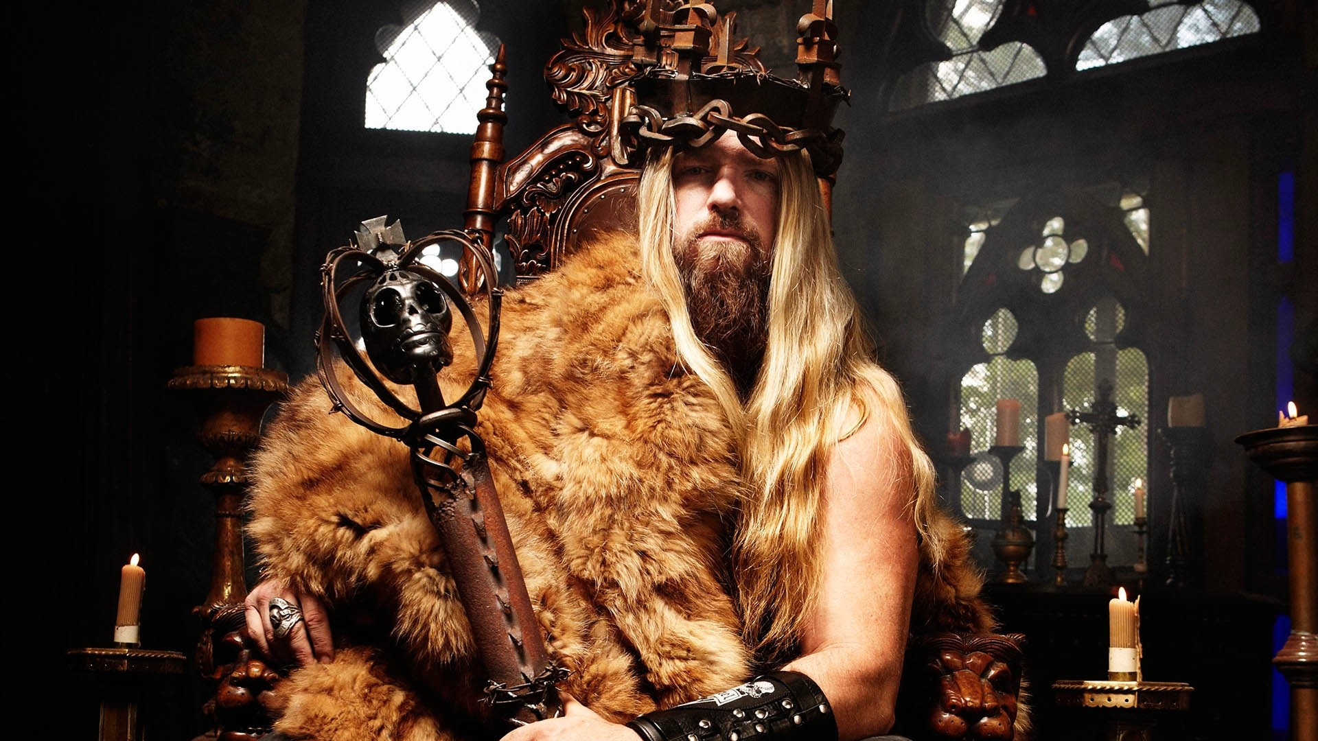 1920x1080  Wallpaper zakk wylde, throne, fur, candles, windows