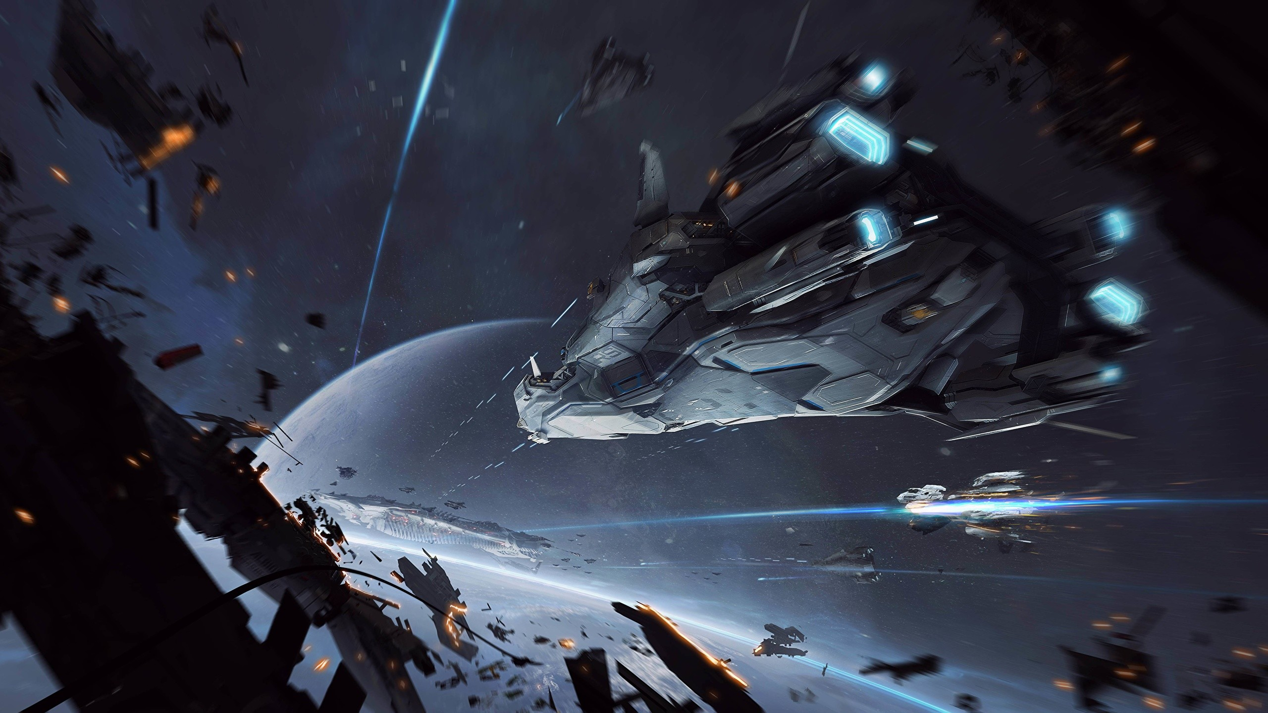 2560x1440 Photo Star Citizen Space Fantasy Games Ships Battles