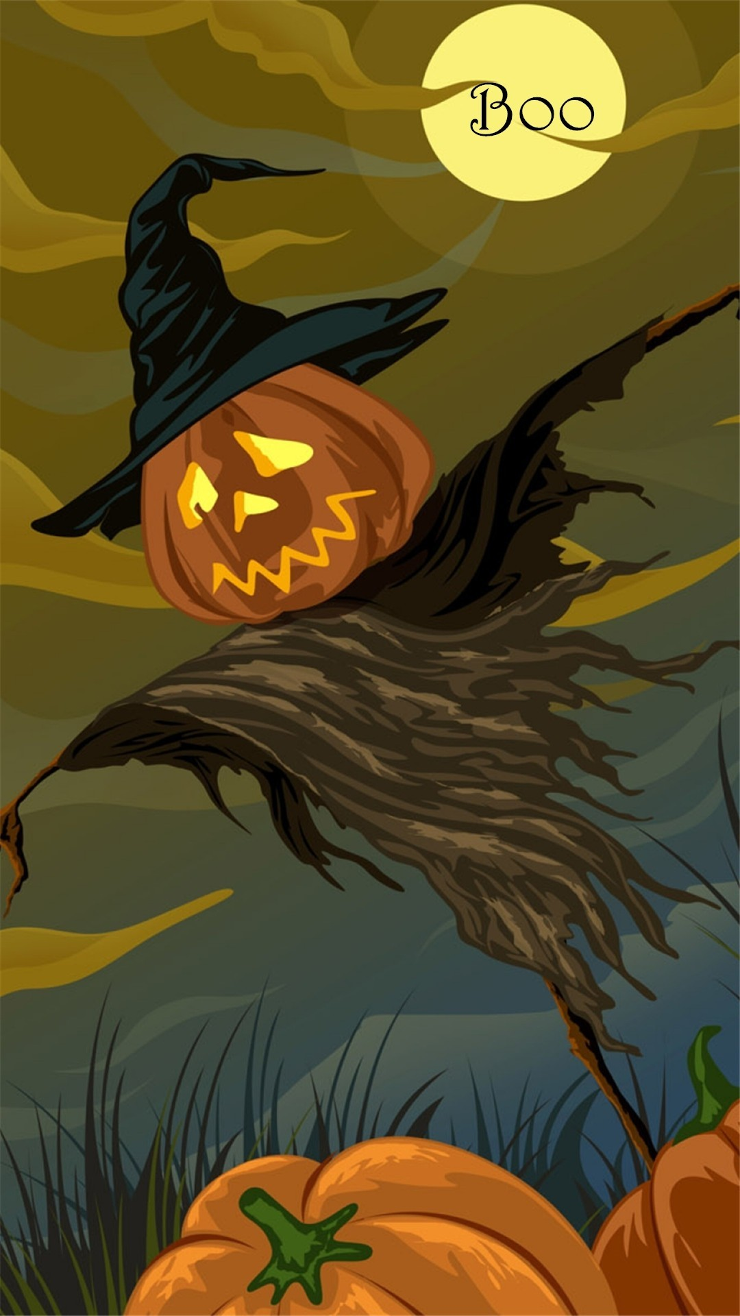 1080x1920 Scary Halloween pumpkin scarecrow Boo iPhone 6 plus wallpaper - moon, witch  hat #2014