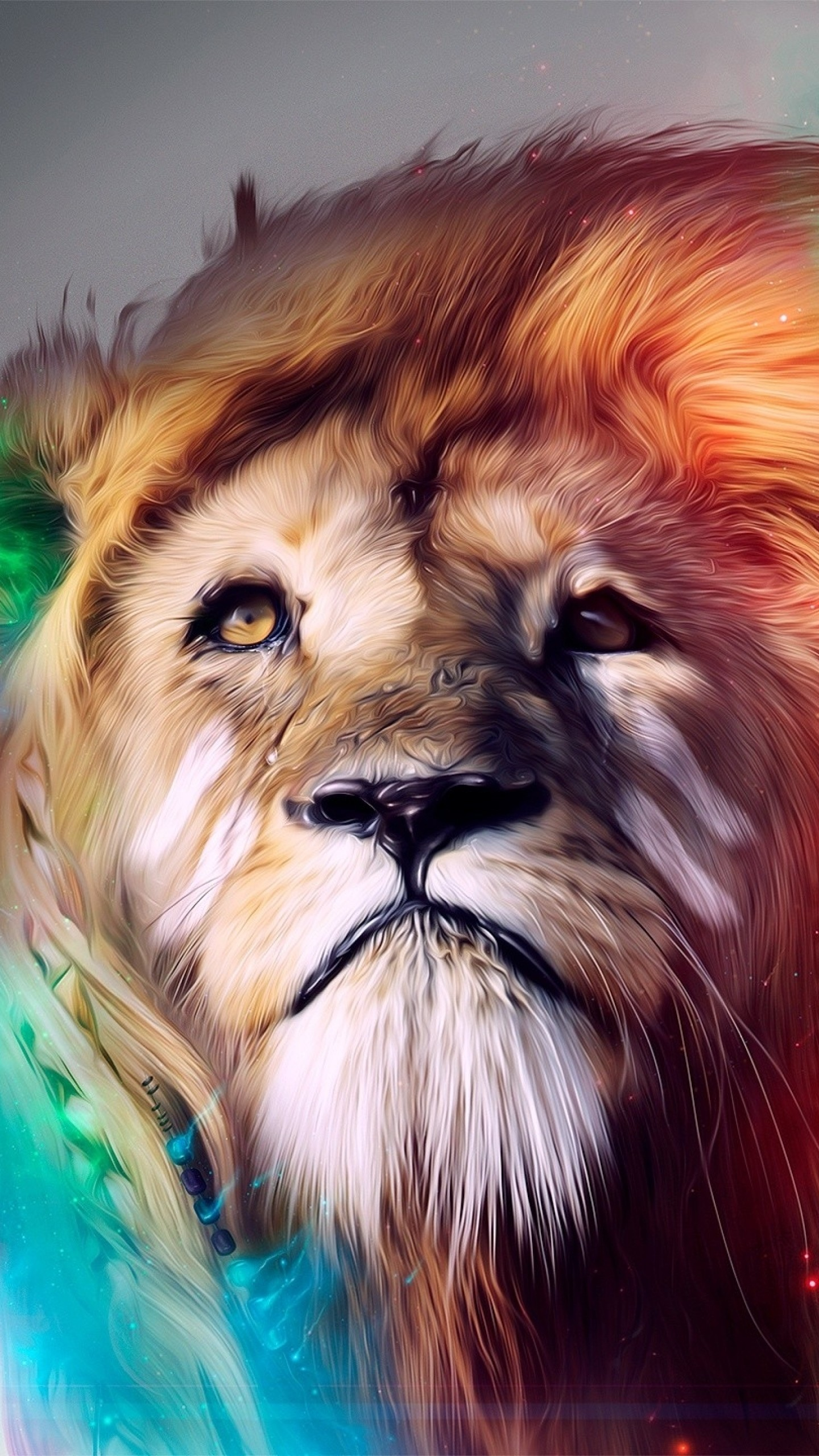 1440x2560  Wallpaper lion, big cat, face, smoke, colored