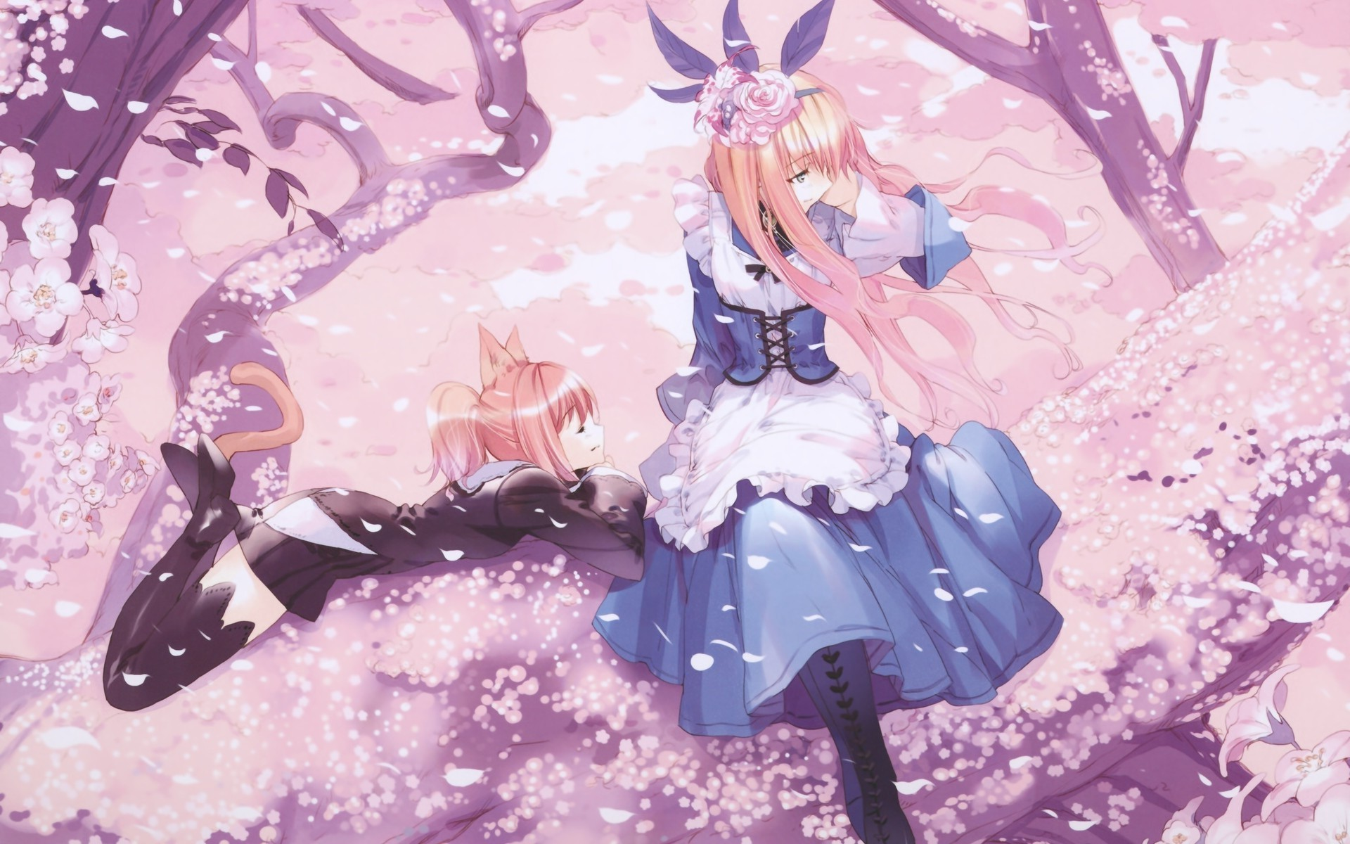 1920x1200 trees, Anime Girls, Cat Ears, Cherry Blossom, Dress, Anime, Alice In  Wonderland Wallpapers HD / Desktop and Mobile Backgrounds