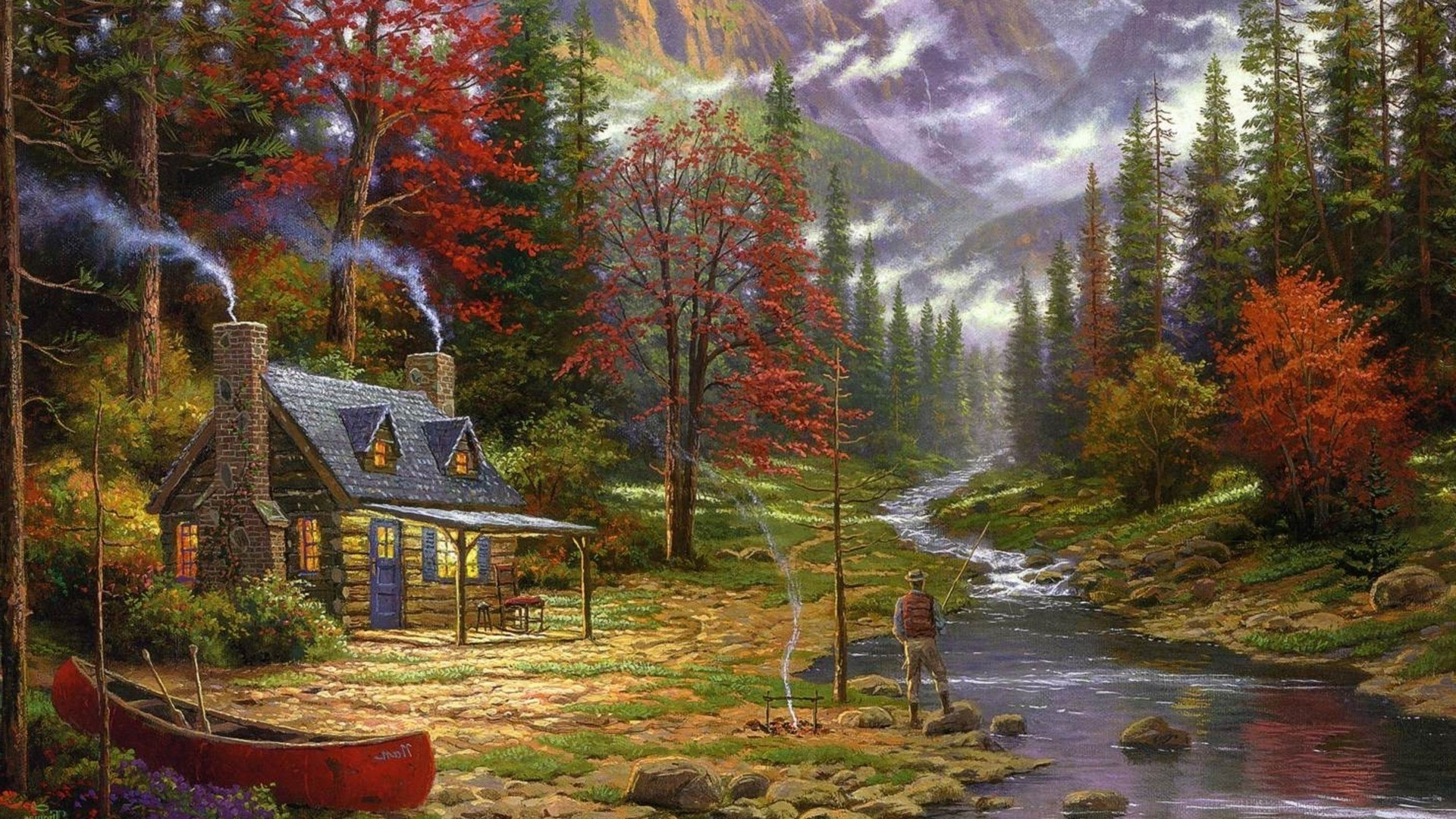 1920x1080 painting, Cottage, Canoes, River, Fishing, Forest, Chimneys, Thomas Kinkade  Wallpapers HD / Desktop and Mobile Backgrounds