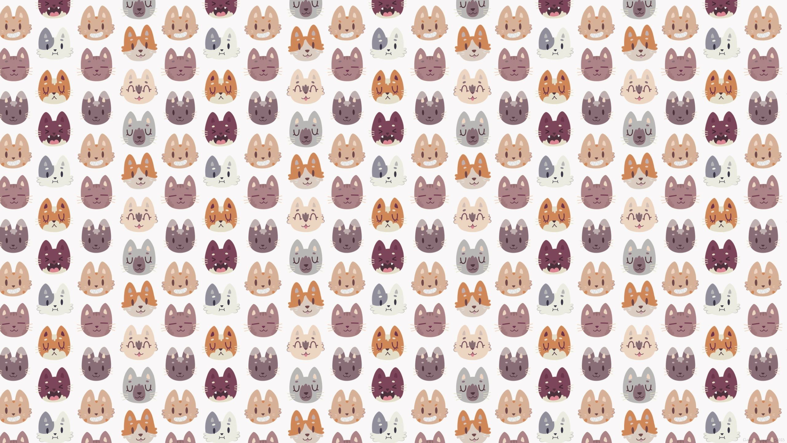 2560x1440 Kitty Cat Faces Pattern [] ...