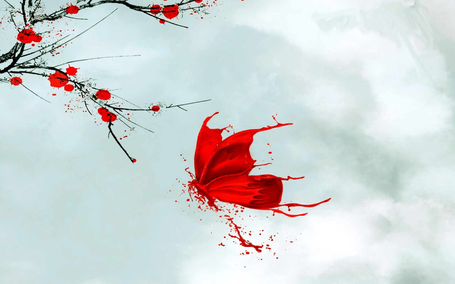 1920x1200 Red Butterfly Flowers Japanese wallpapers and stock photos