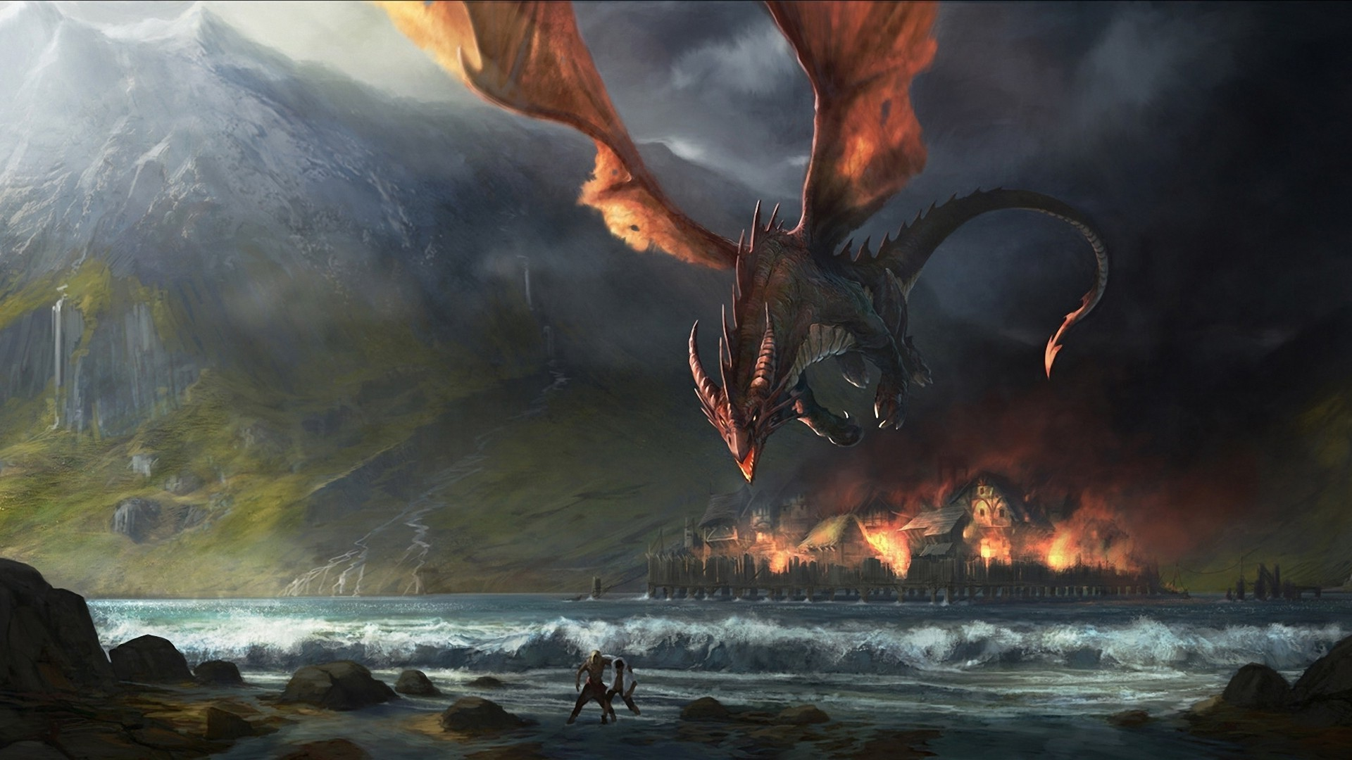 1920x1080 ... Scary Big Fire Dragon Monster Fantasy Wallpaper - http://www .