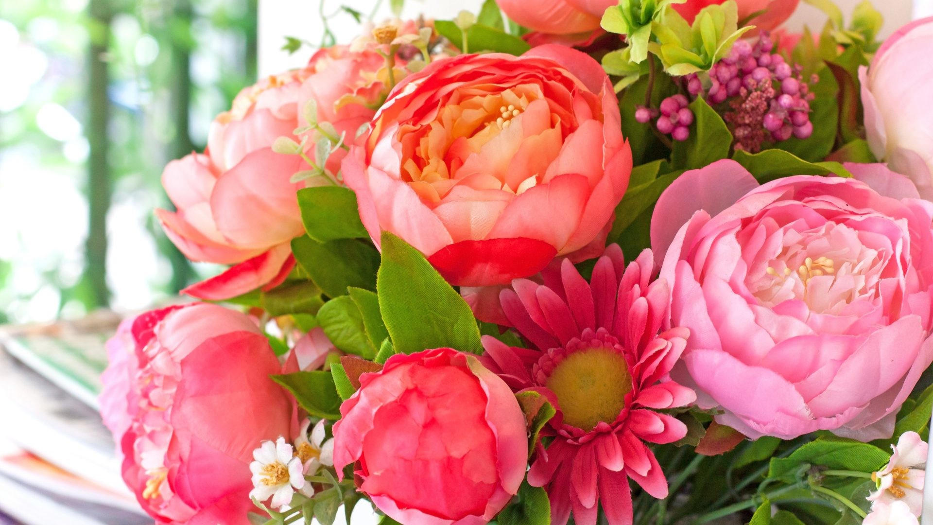1920x1080 Peonies Tag - Bouquet Flowers Pink Peonies Flower Wallpapers Photos for HD  16:9 High