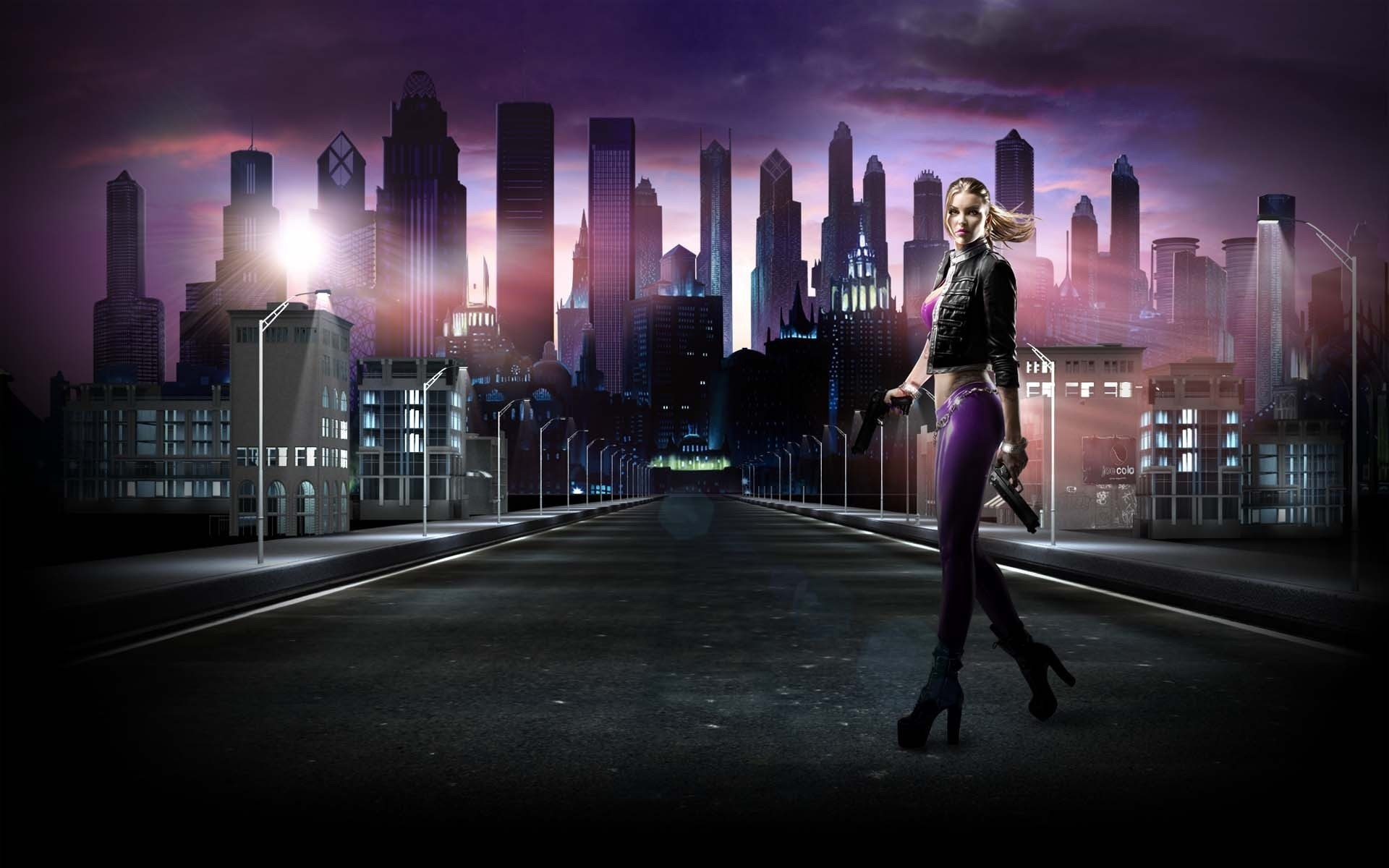1920x1200  Wallpaper saints row, girl, road, city, night