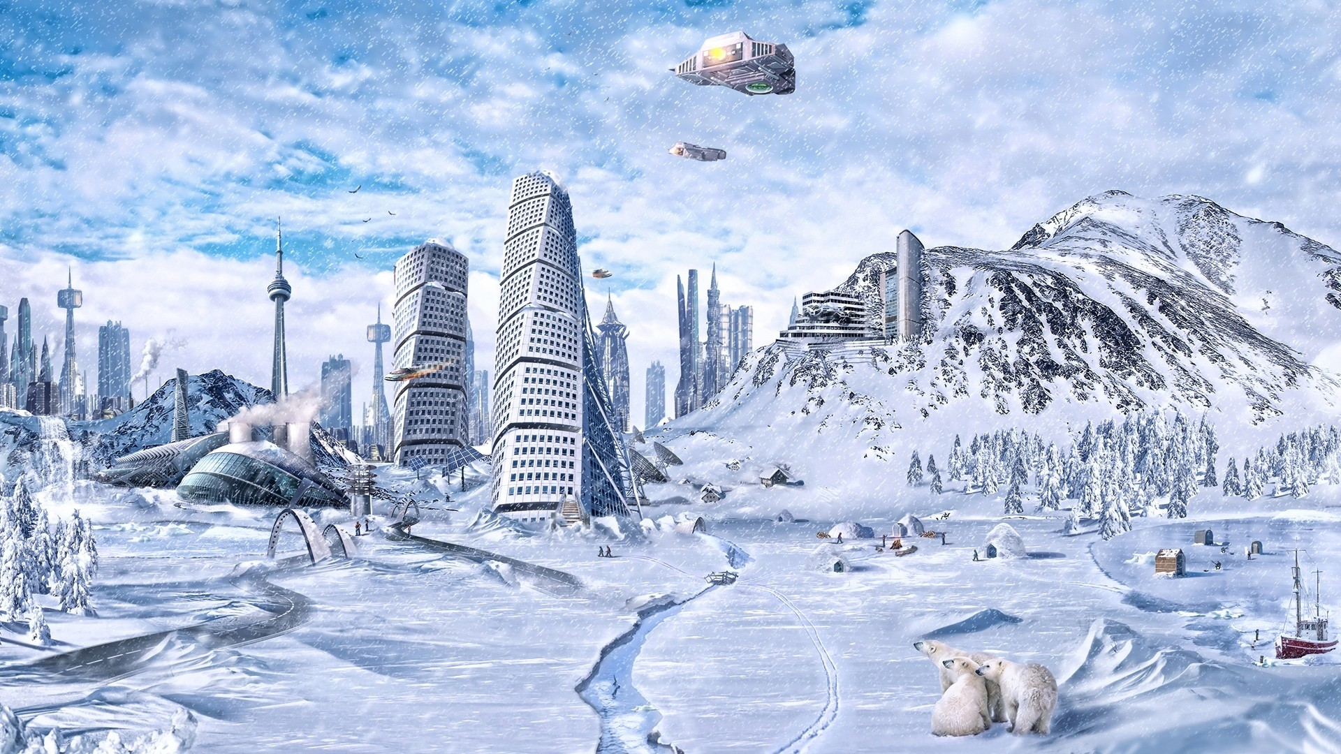 1920x1080 Preview wallpaper planet, world, winter, snow, city, science fiction, future