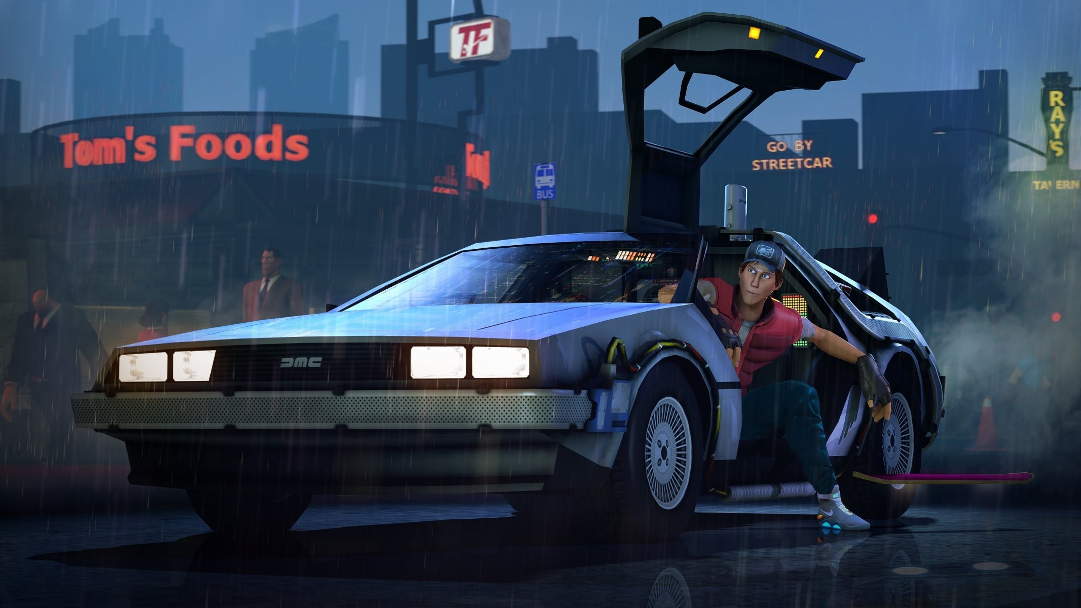 2133x1200 back to the future back to the future delorean team fortress scout . ...