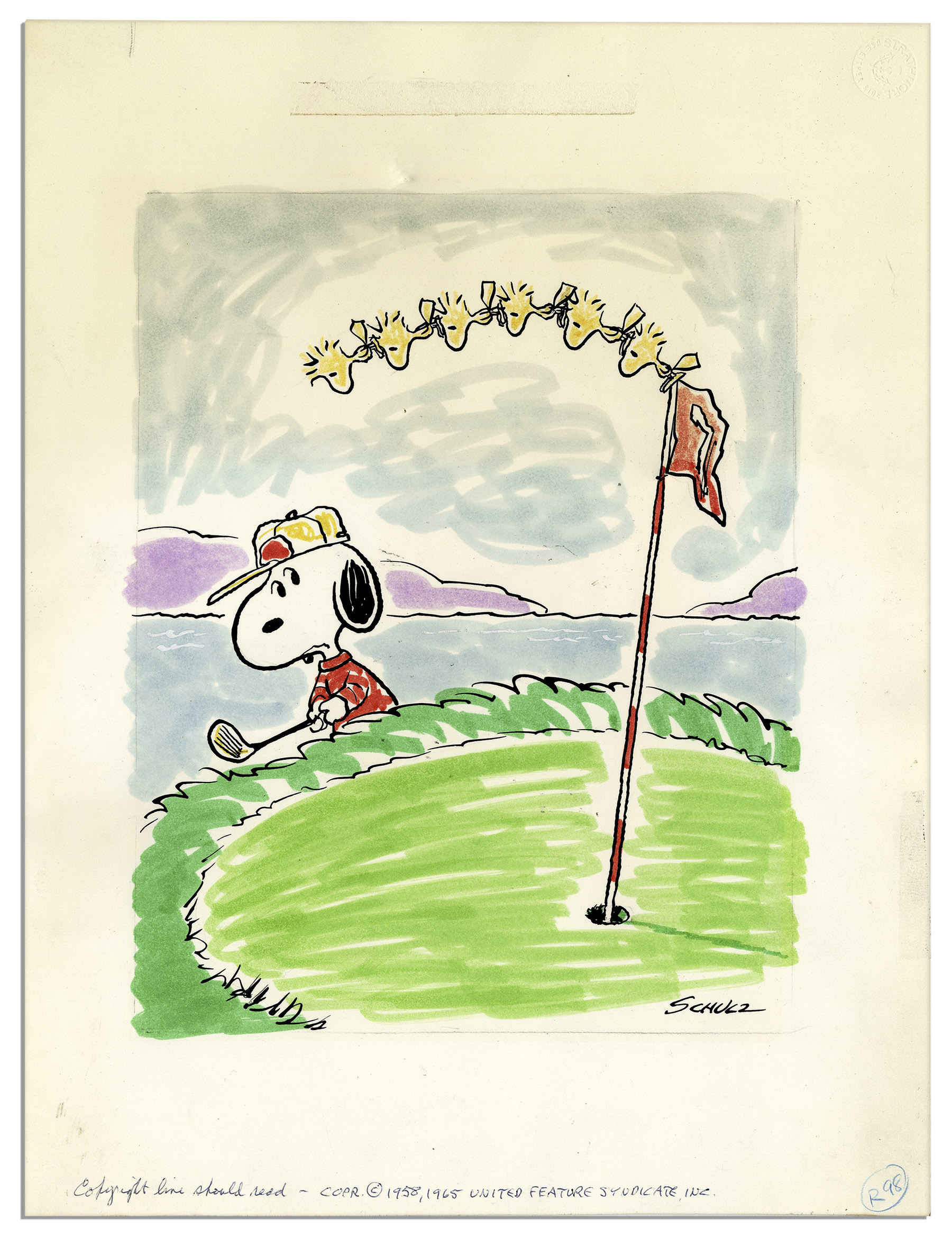 1800x2357 Charles Schulz ''Peanuts'' Golf Theme Color Original Artwork Starring  Snoopy & Woodstock