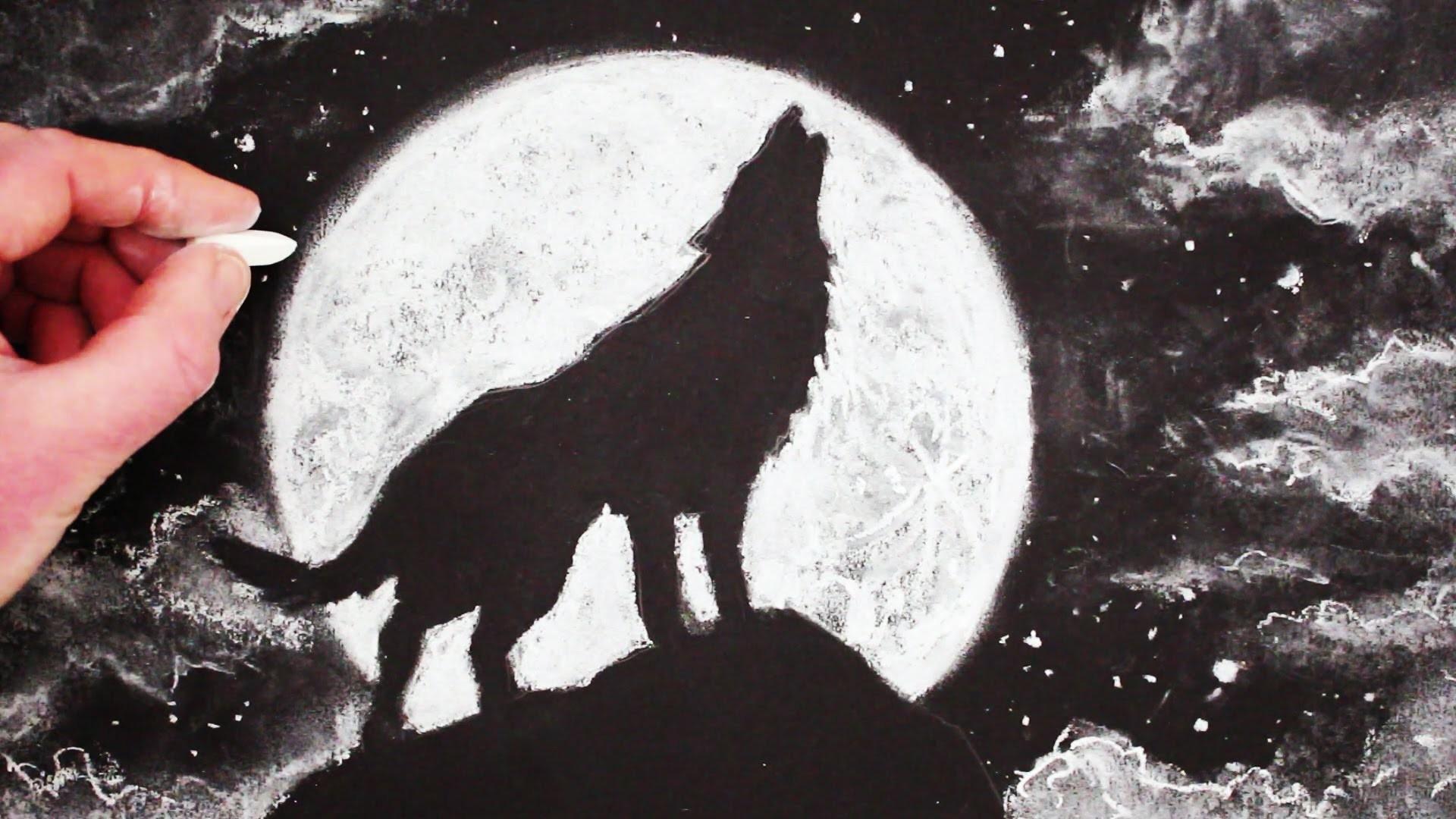 Как рисовать волка воющем на луну