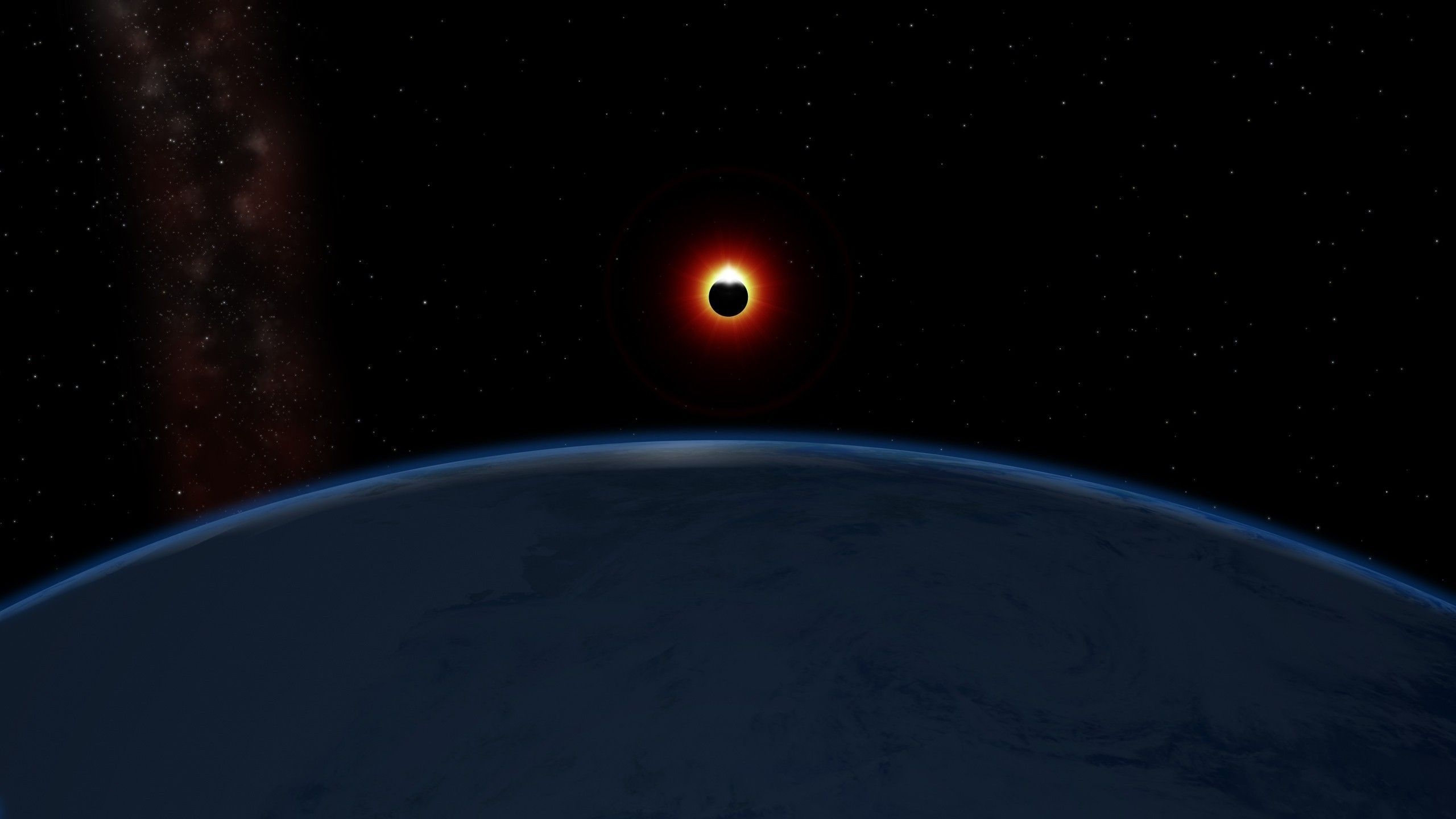 2560x1440 Solar Eclipse From Space Station