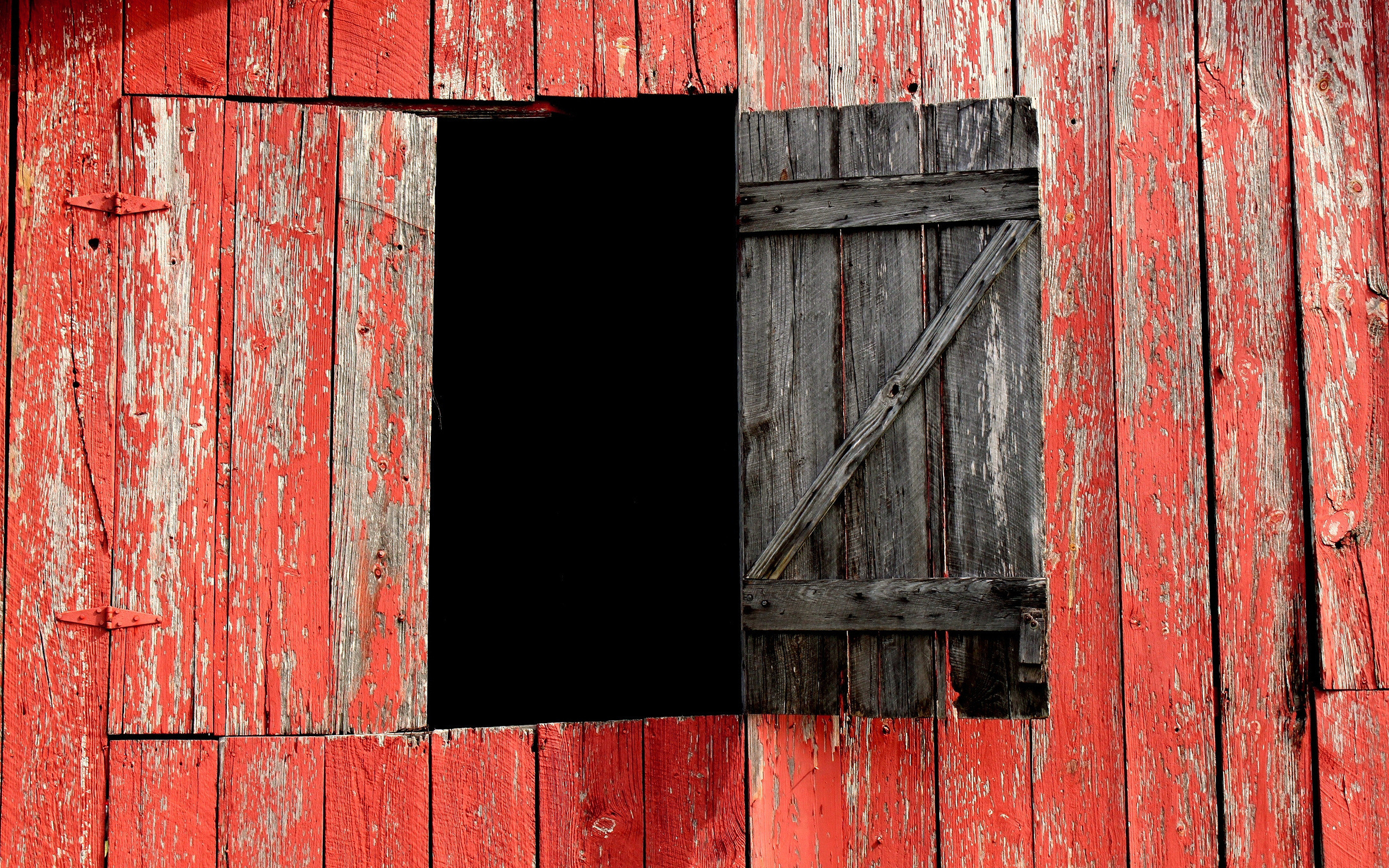 2560x1600 Red barn with a window opened wallpaper