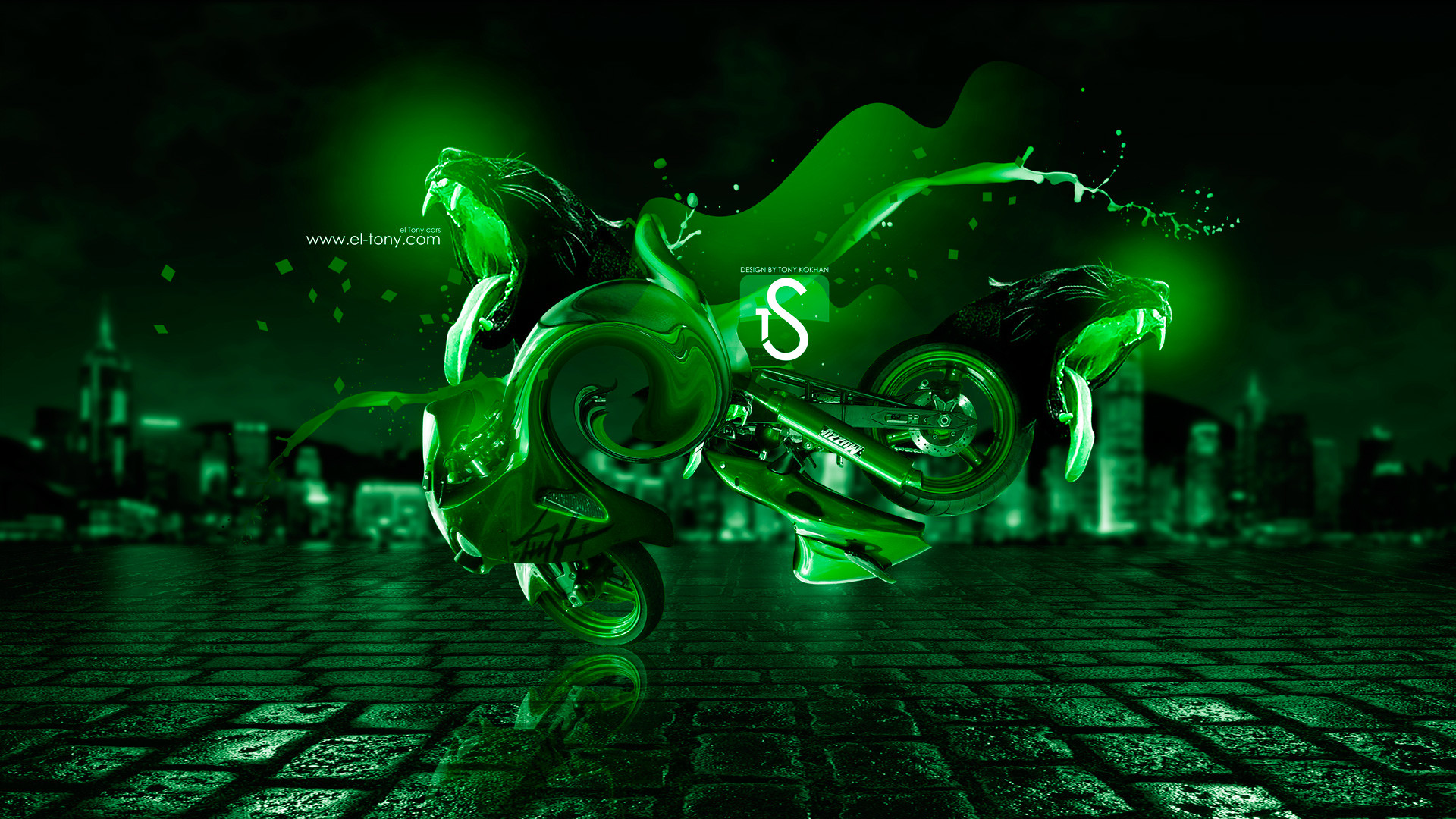 1920x1080 Neon Green Wallpaper Design Suzuki hayabusa fantasy panter