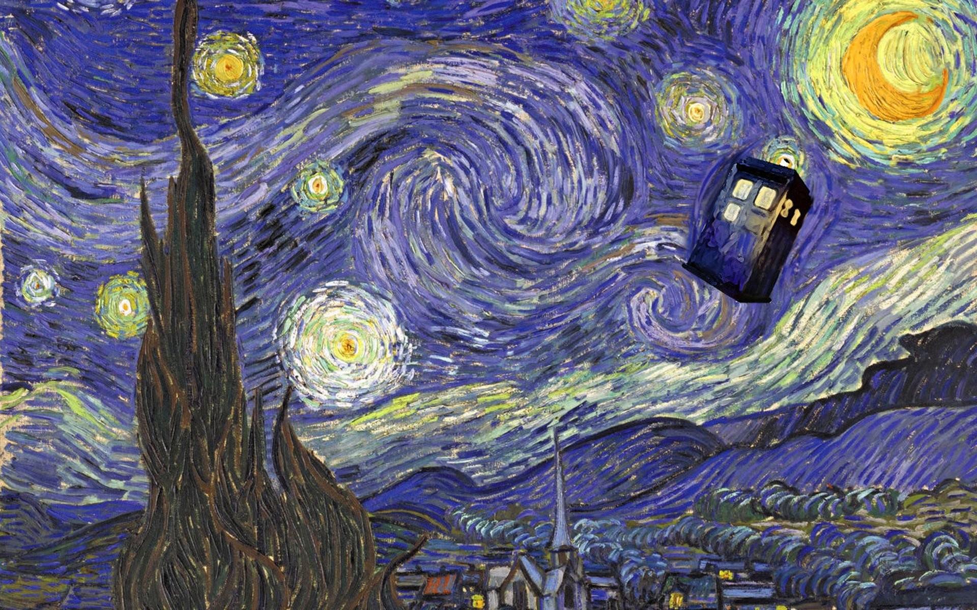 1920x1200 Tardis Van Gogh Wallpaper