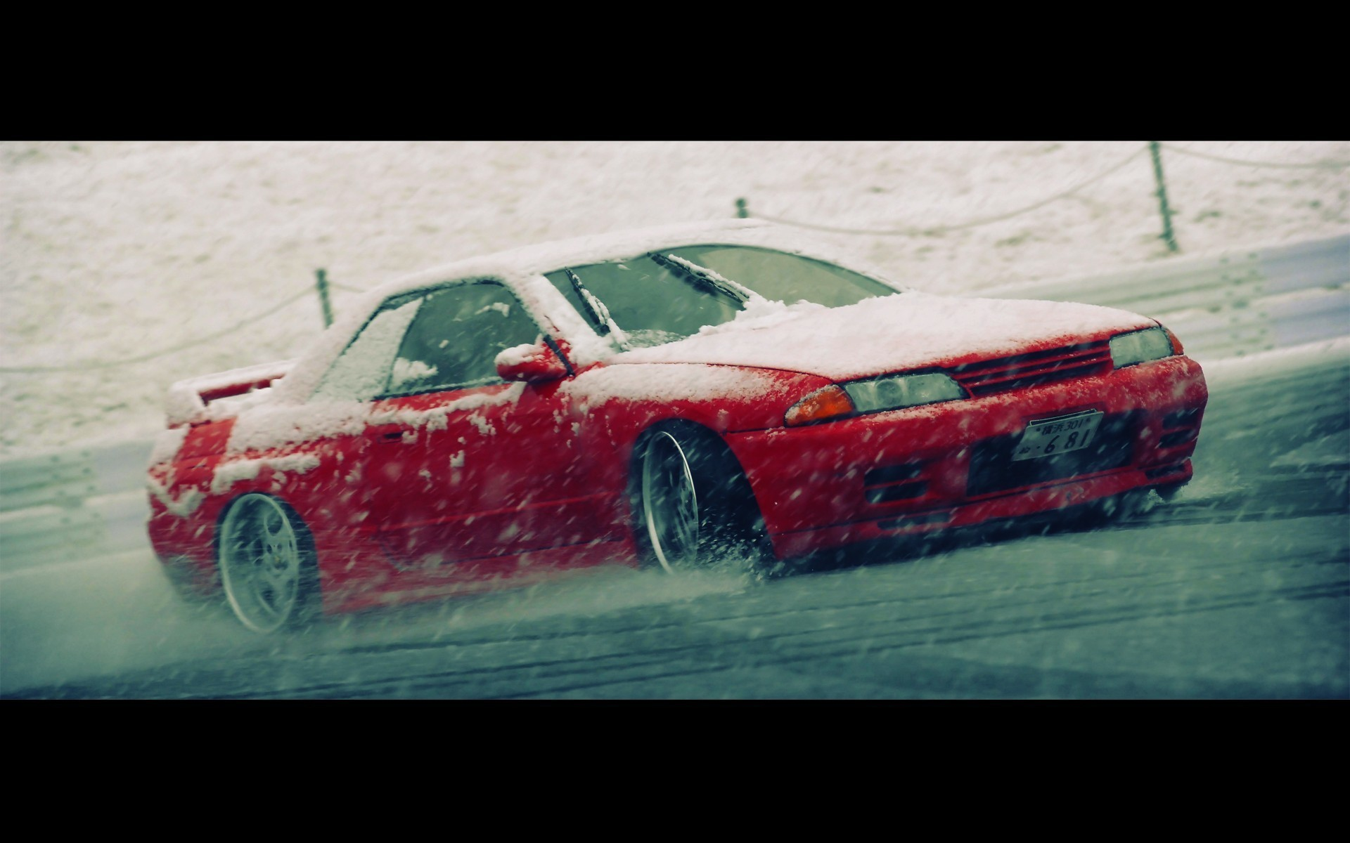 1920x1200 Nissan skyline r32 blizzard drifting cars snow wallpaper