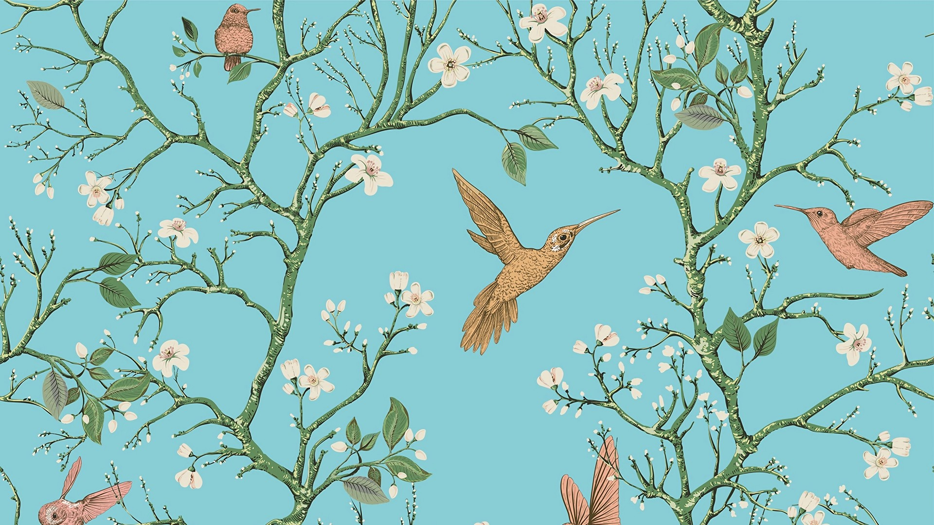 1920x1080  Wallpaper birds, branches, flowers, spring, pattern