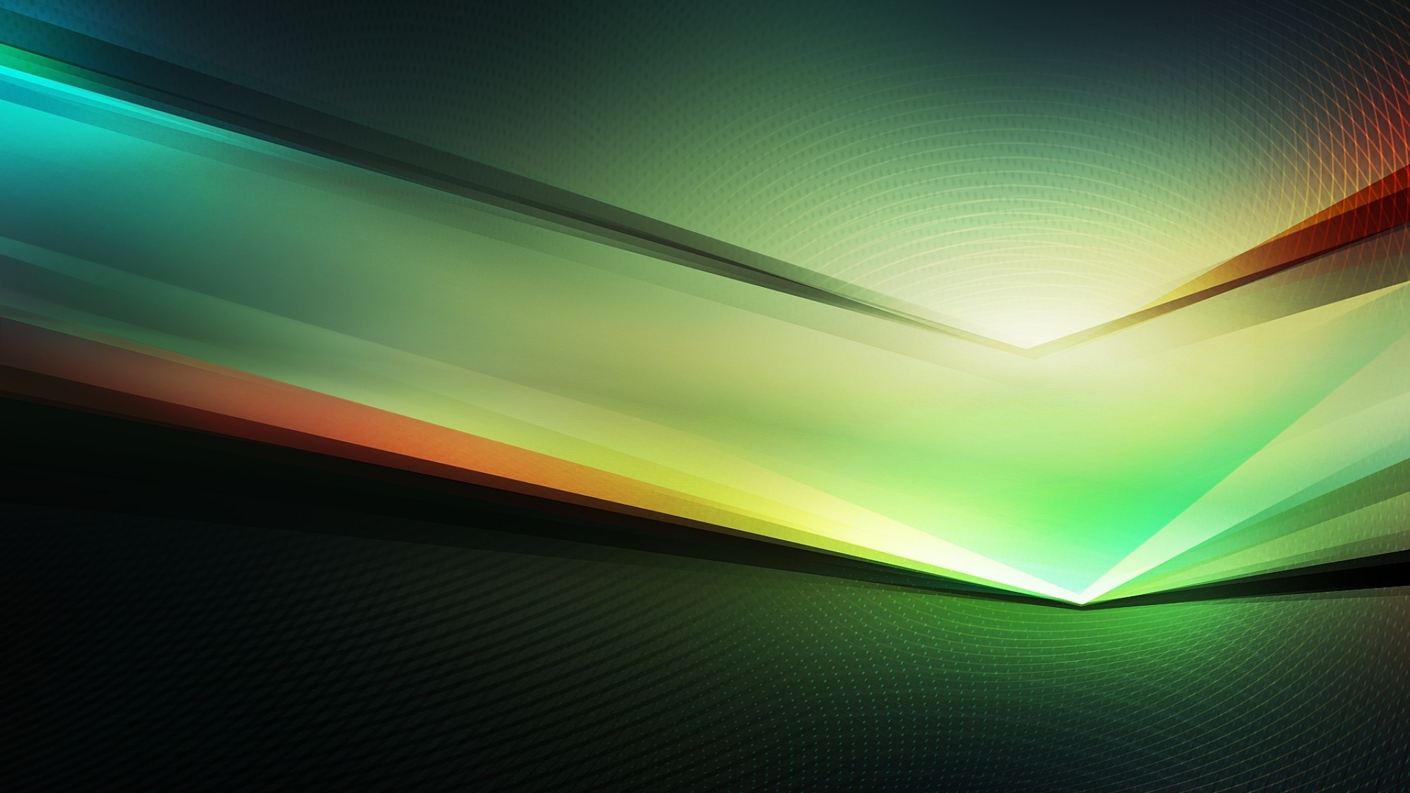 2048x1152  Wallpaper green, dark, lines, light