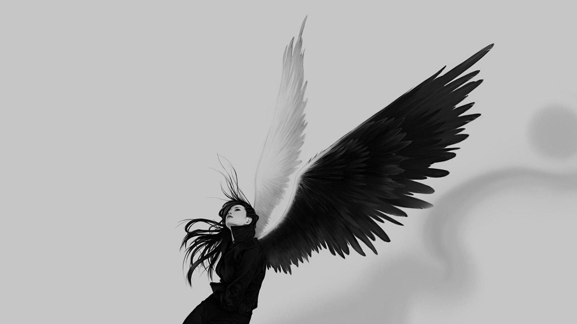 1920x1080 Angel wings girl