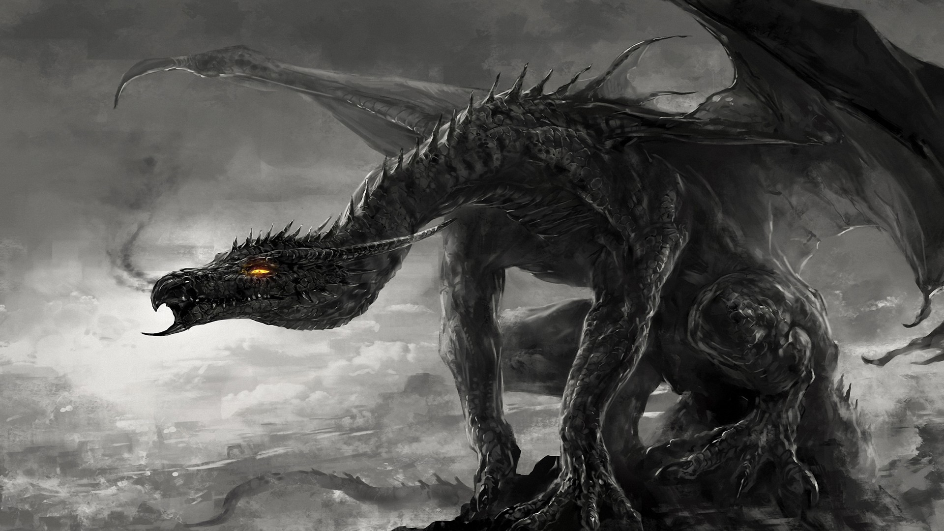 1920x1080 artwork, Dragon, Fire, Black, Dark