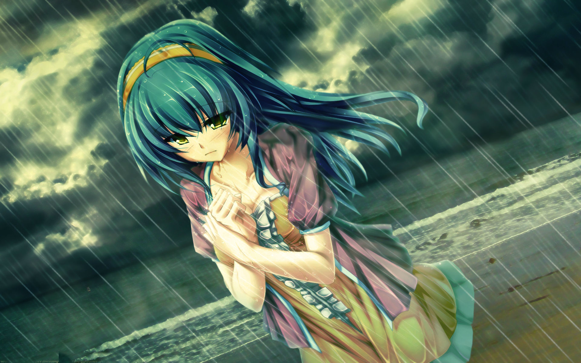 1920x1200 sad anime girl crying in rain alone