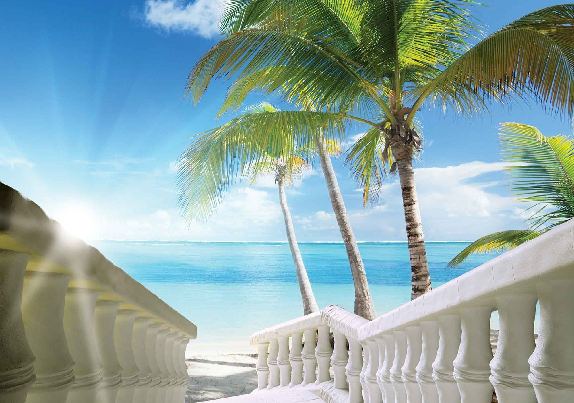 2000x1404 Easy install - wallpaper mural Beach Tropical Scene 828