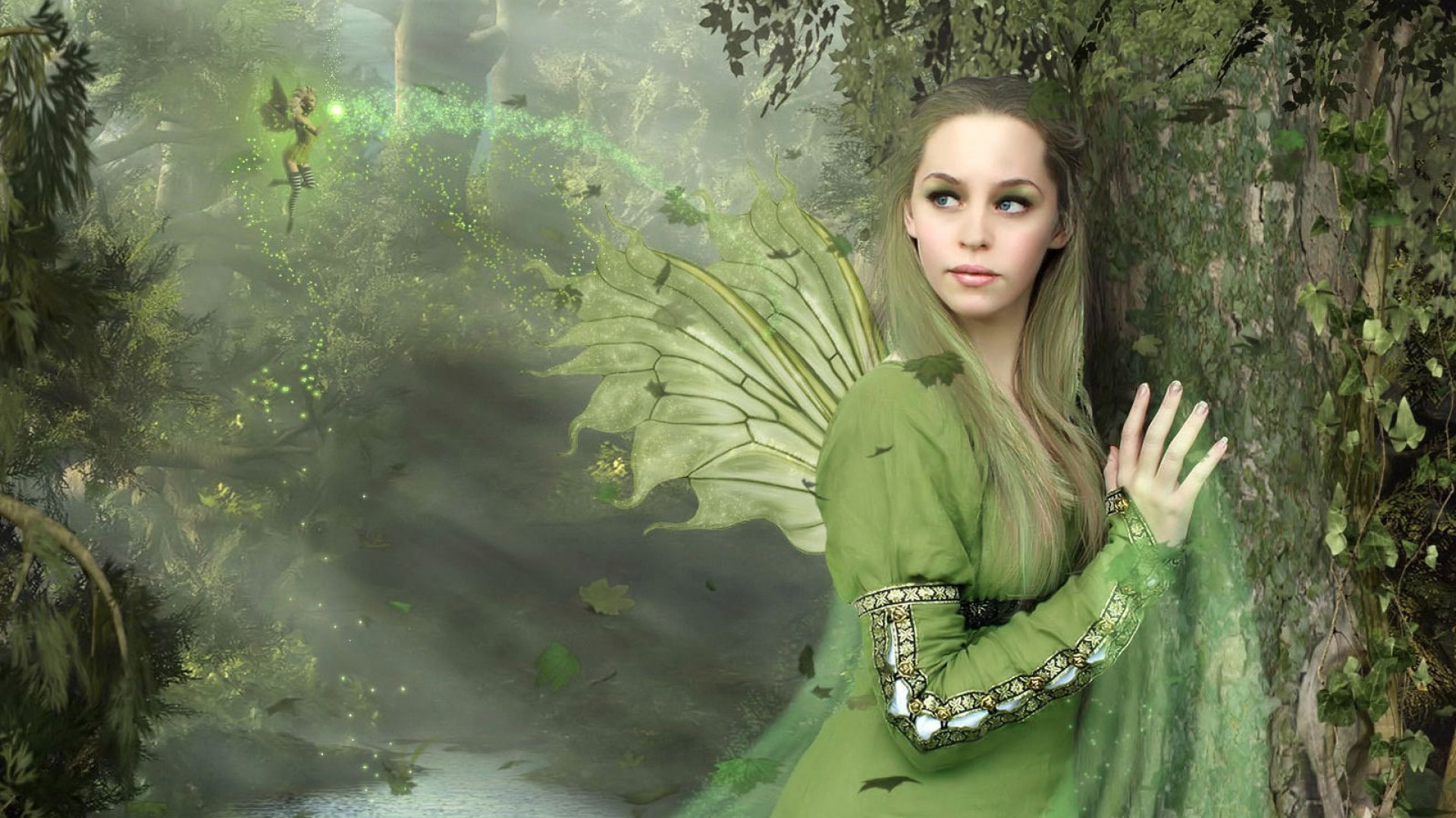 1920x1080 Preview wallpaper fairy, girl, wings, wood, lake