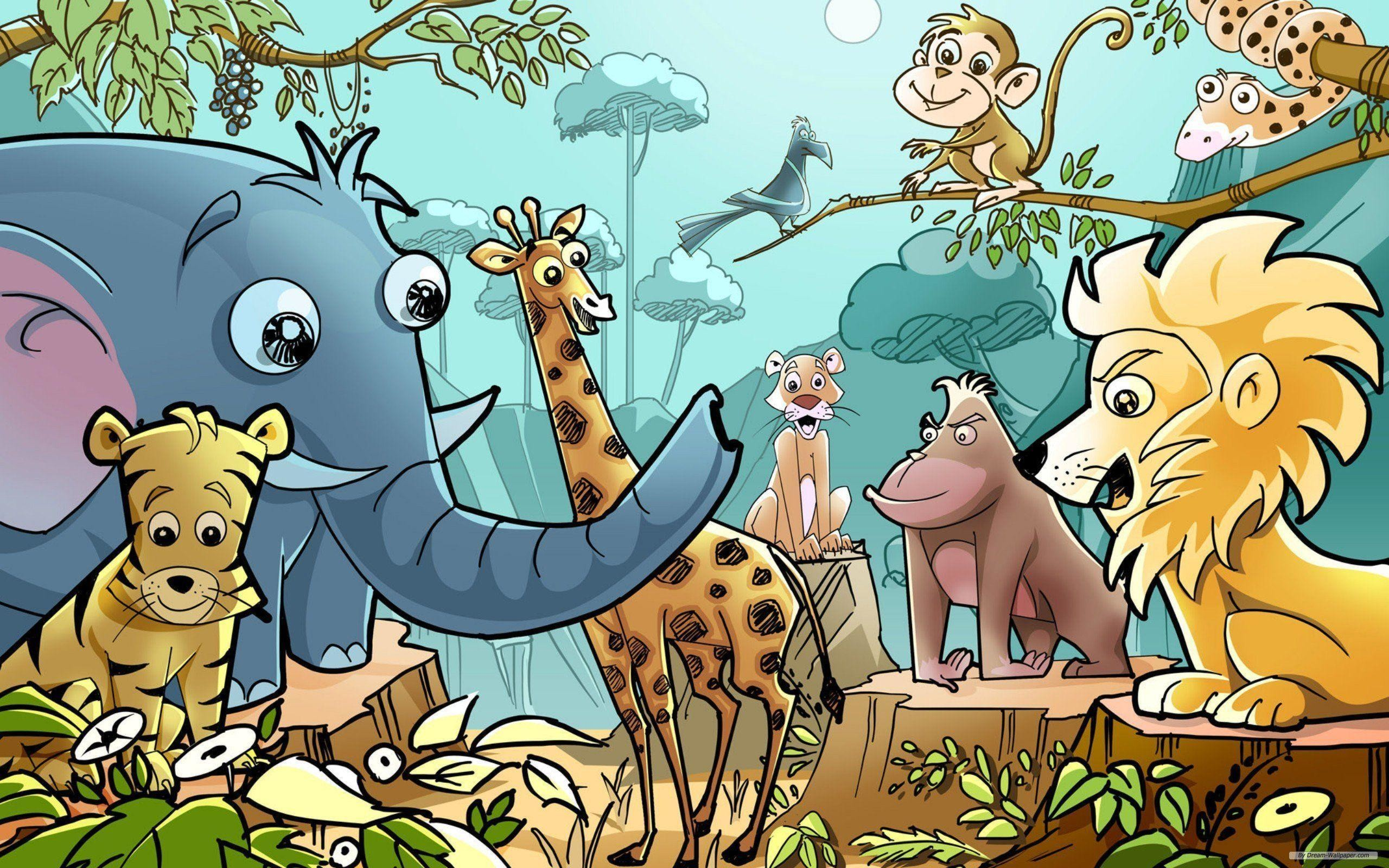 2560x1600 Cartoon Jungle Animals Wallpaper - WallDevil