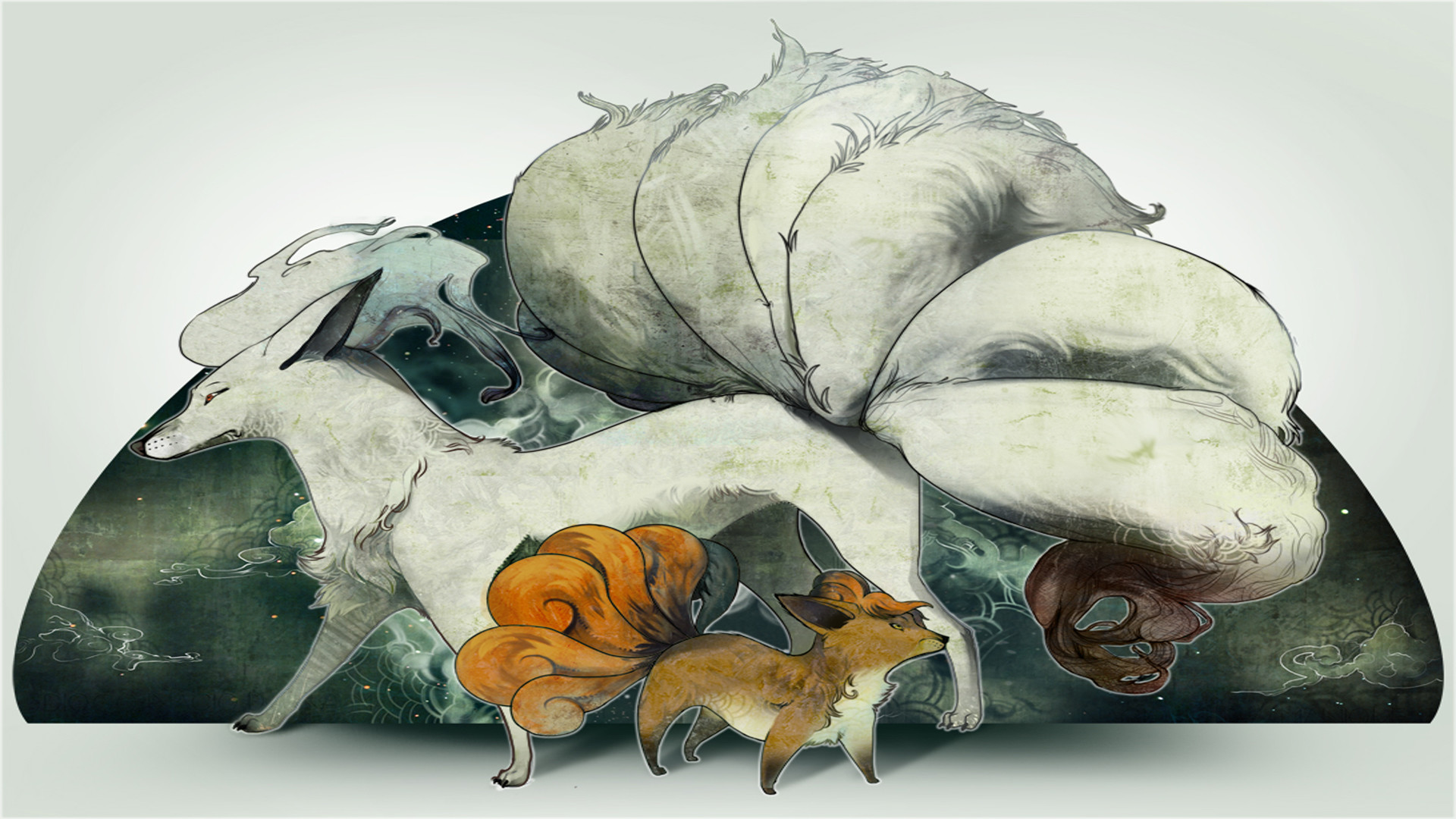 1920x1080 Pretty cool vulpix and ninetails wallpaper.