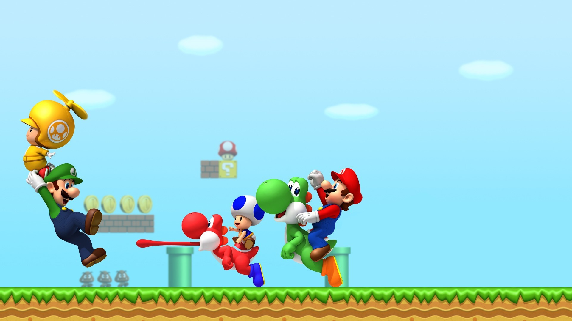 1920x1080 Super Mario, Luigi, Yoshi, Toad (character), Video Games Wallpapers HD /  Desktop and Mobile Backgrounds