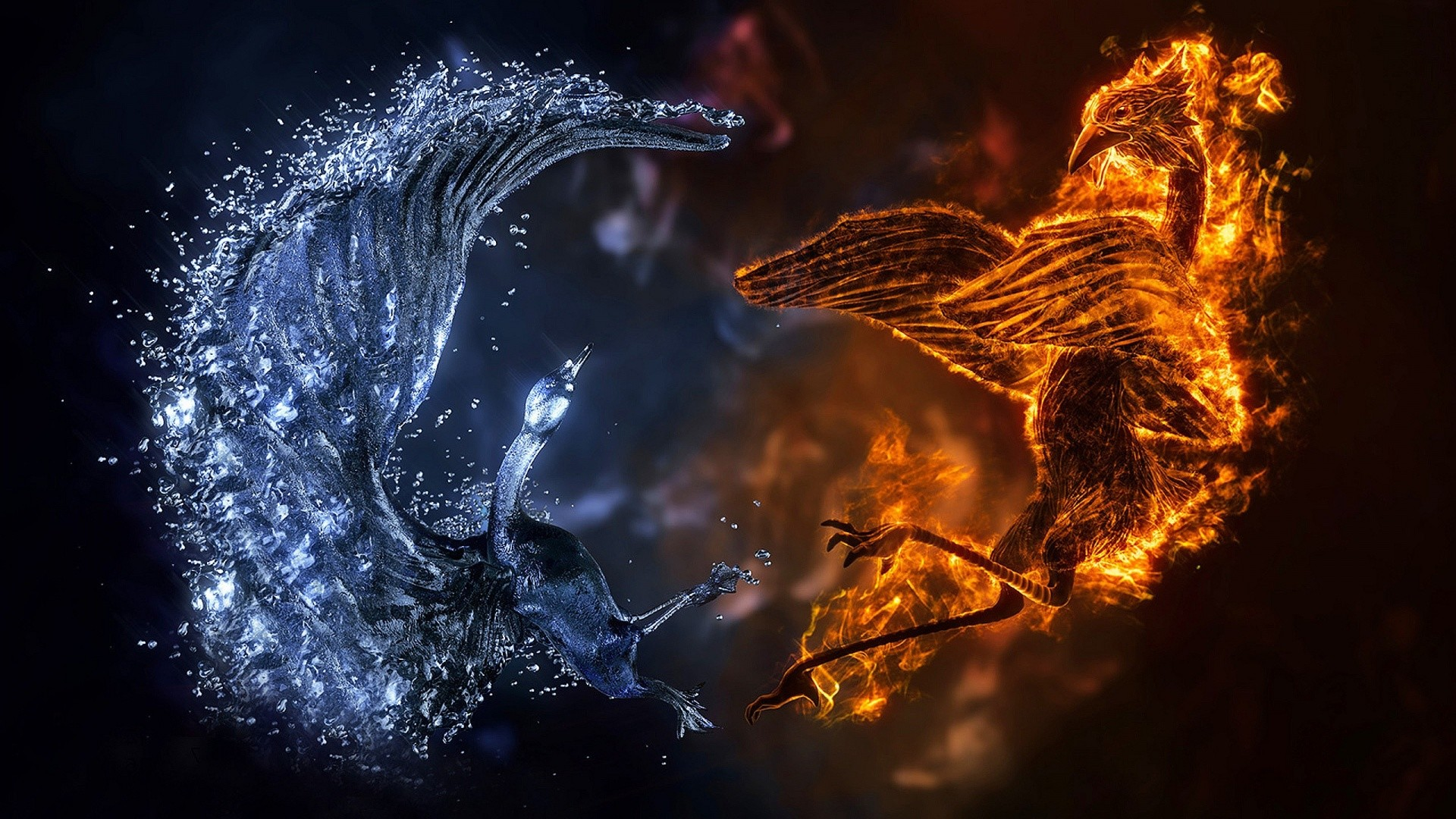 1920x1080 Description: The Wallpaper Above Is Fire Ice Birds Wallpaper In