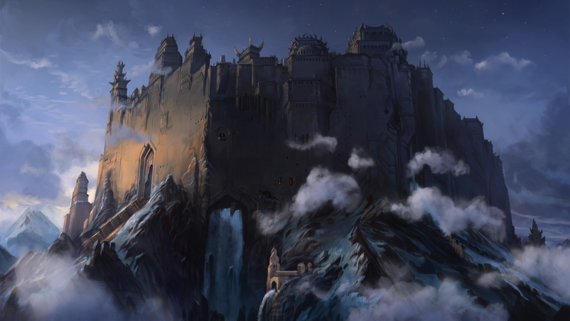 1920x1080 fantasy Art, Artwork, Clouds, Mountain, Forts, Castle Wallpapers HD /  Desktop and Mobile Backgrounds