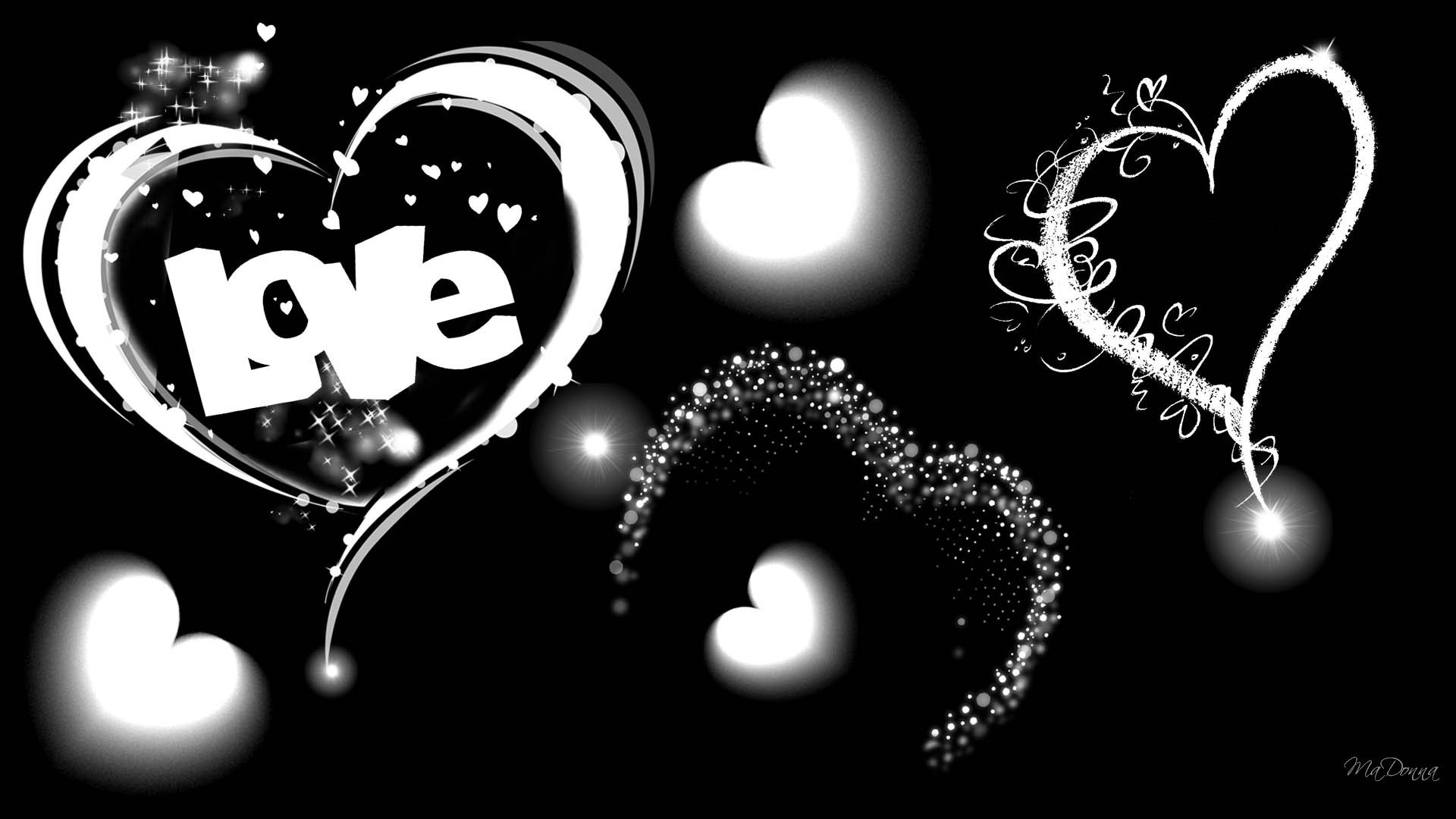 1920x1080 The Word Love in Black and White Wallpaper