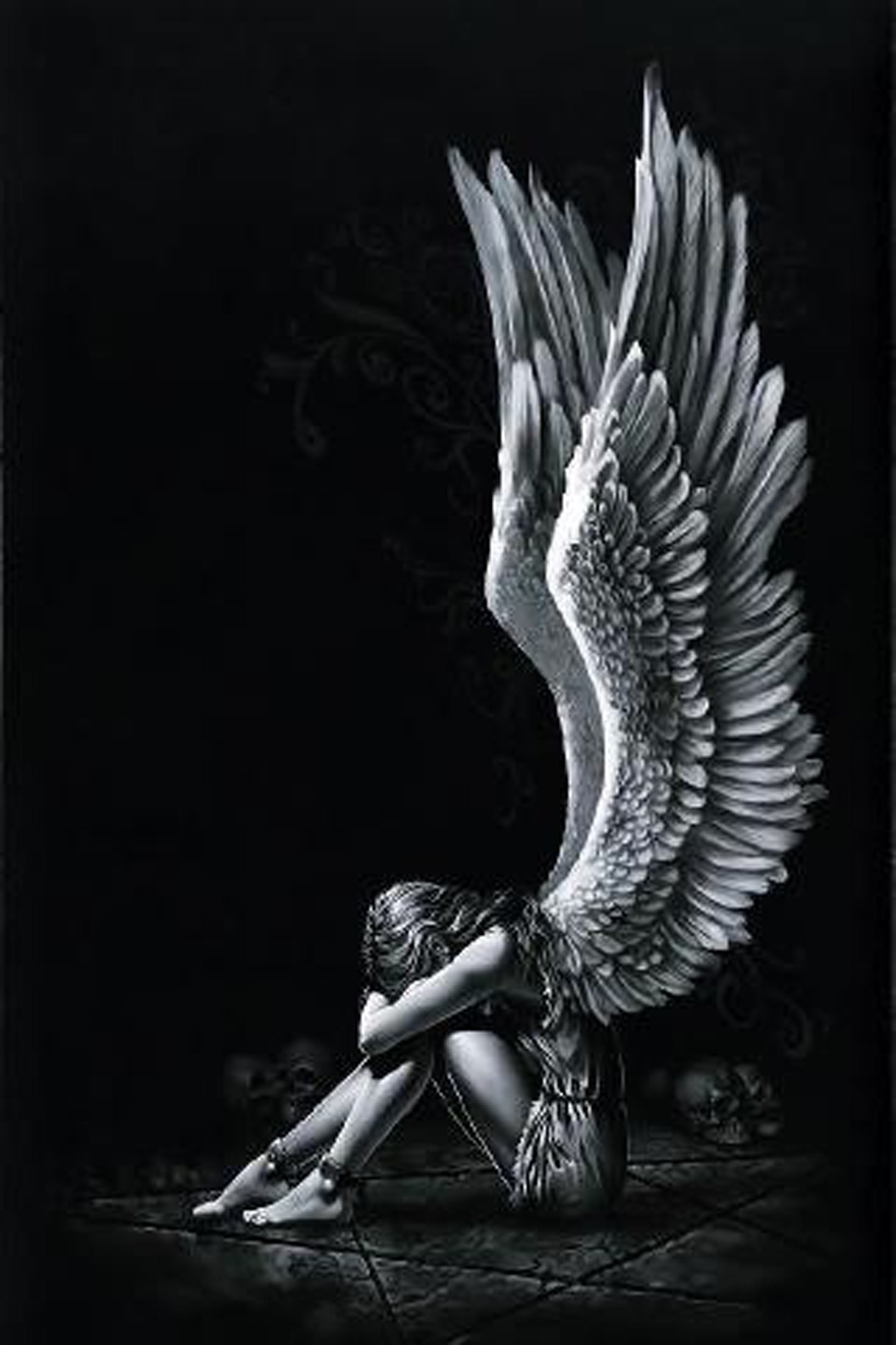 1440x2160 Angel girl wings fantasy alone light black white wallpaper |  |  571221 | WallpaperUP