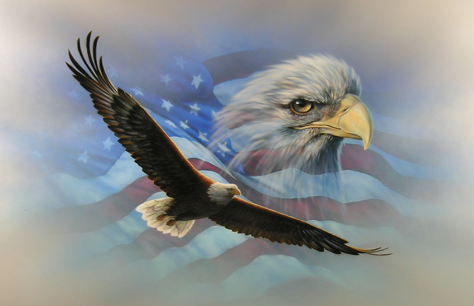 1987x1283 American Flag Eagle Wallpaper