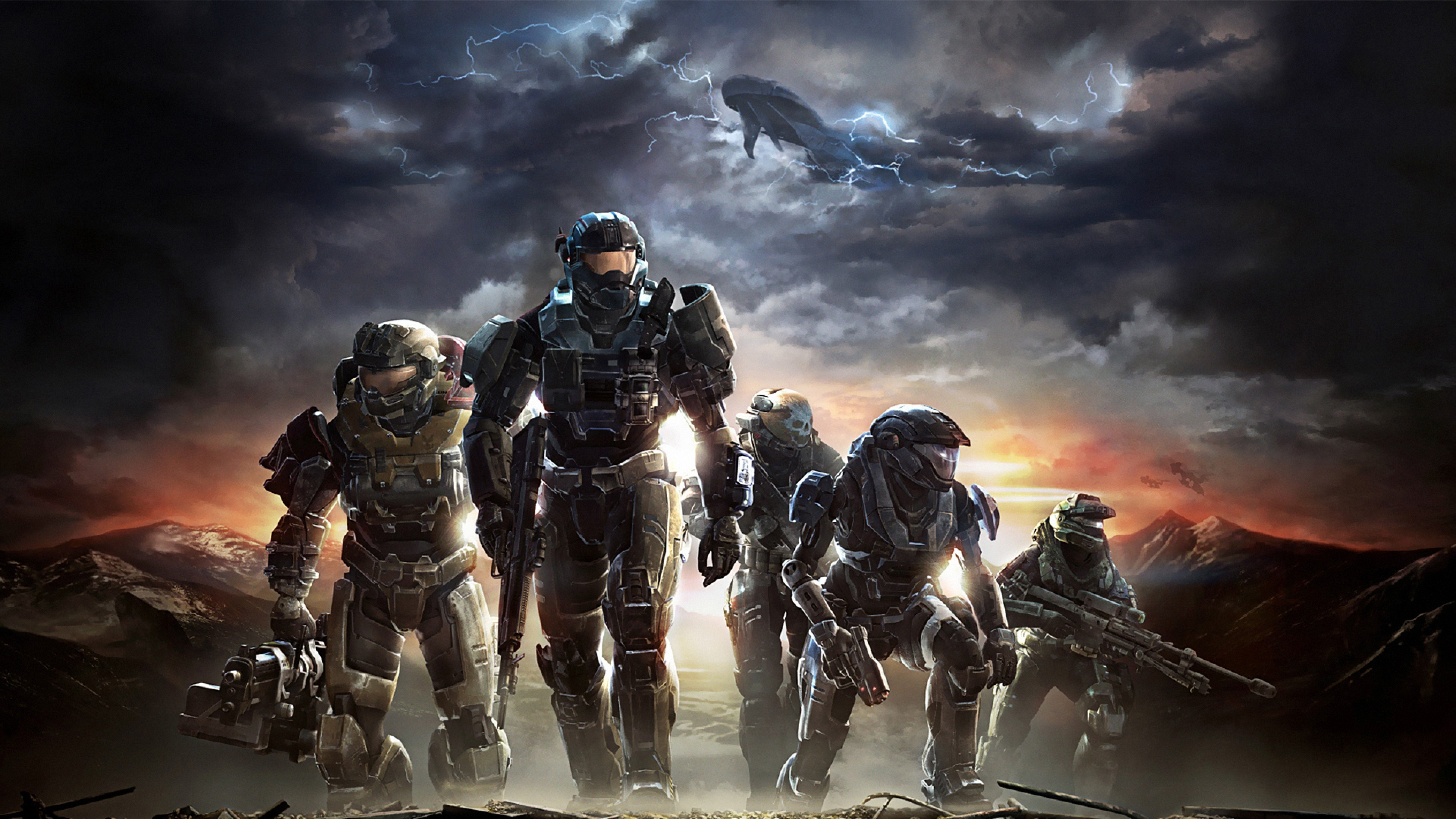 3840x2160 Download Wallpaper  halo, soldiers, sky, clouds, mountains 4K .