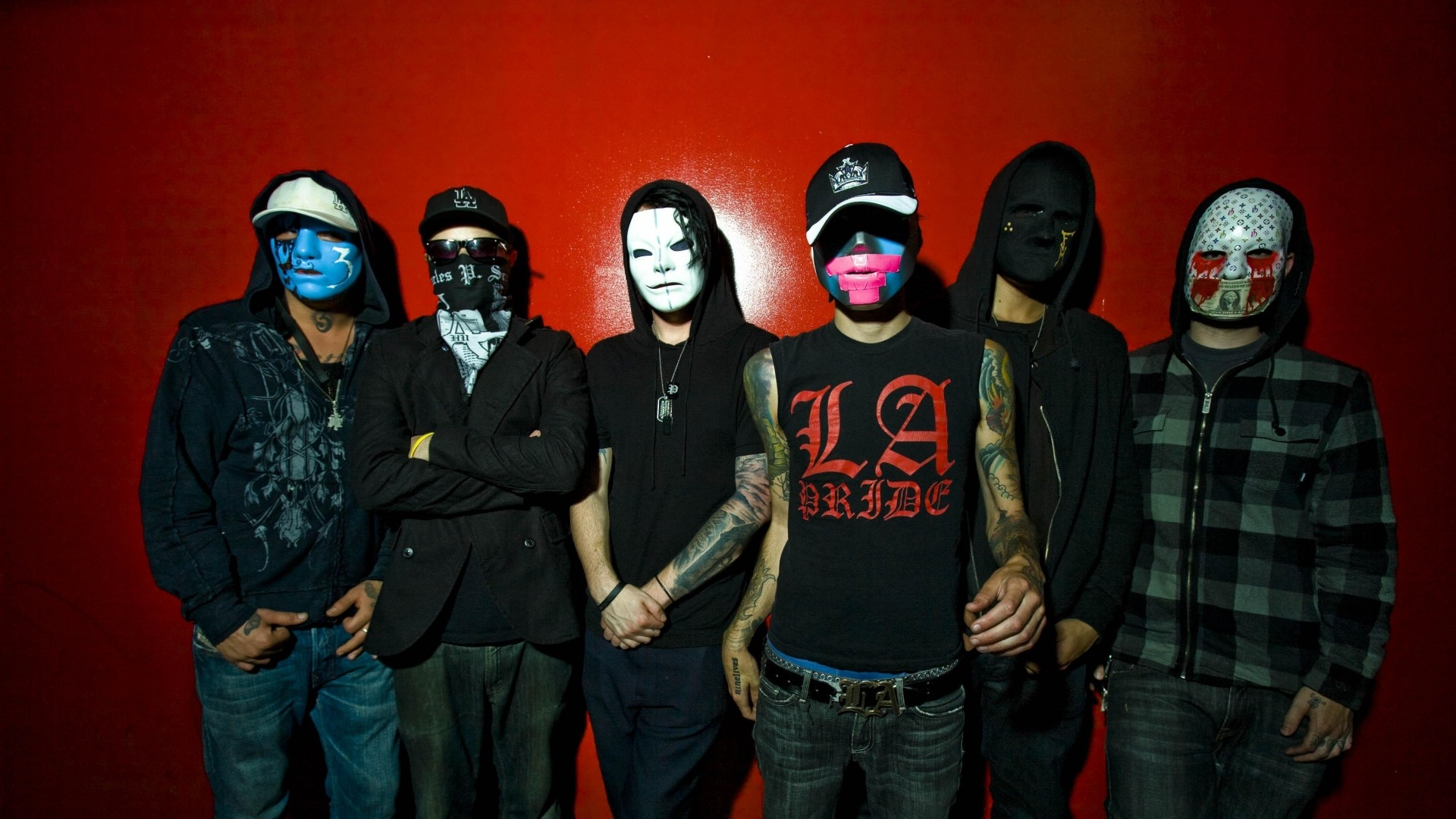1920x1080 Preview wallpaper hollywood undead, band, members, masks, wall