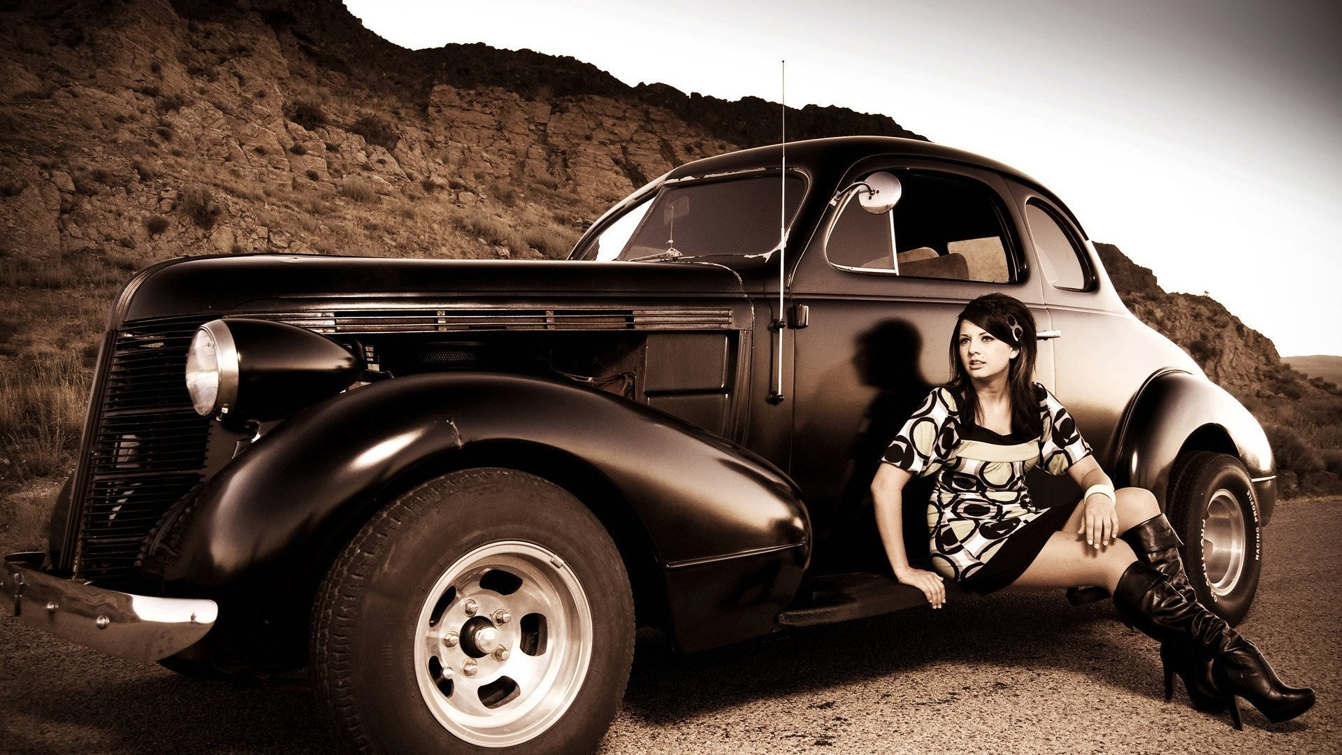 1920x1080 Girl And Hot Rod