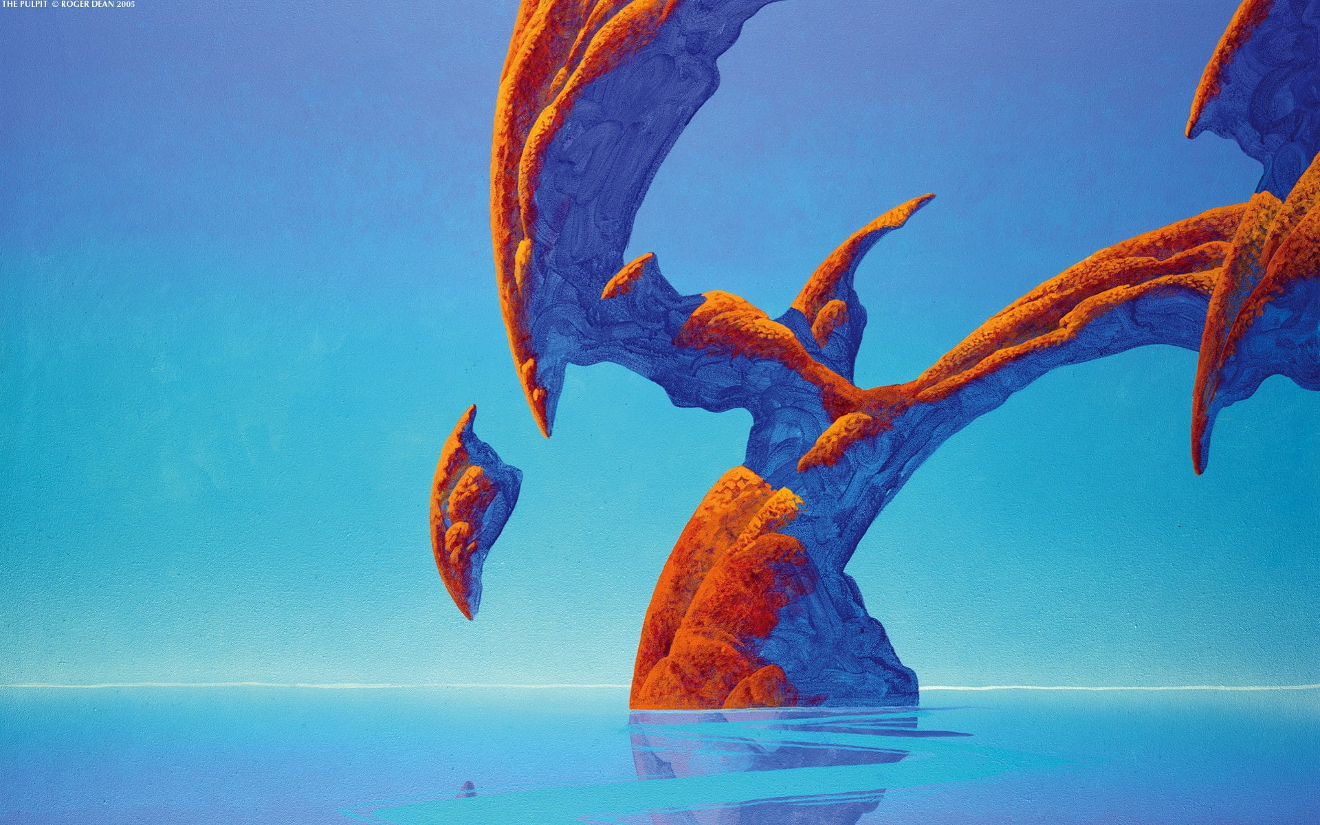 1920x1200 Roger Dean, rock formation, fantasy art, sea, water, blue, nature