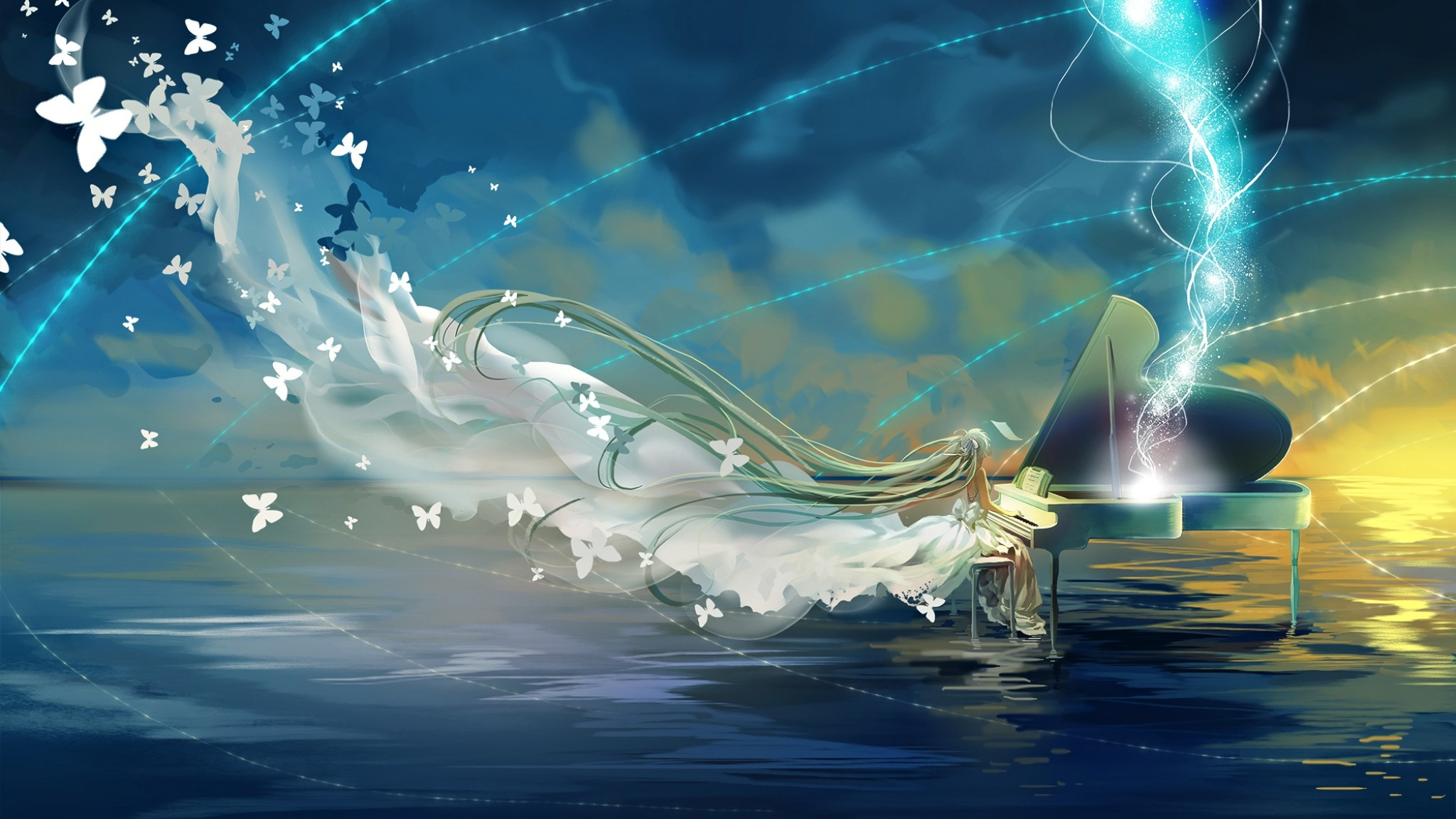 2048x1152 Preview wallpaper vocaloid, hatsune miku, piano, sky, butterfly