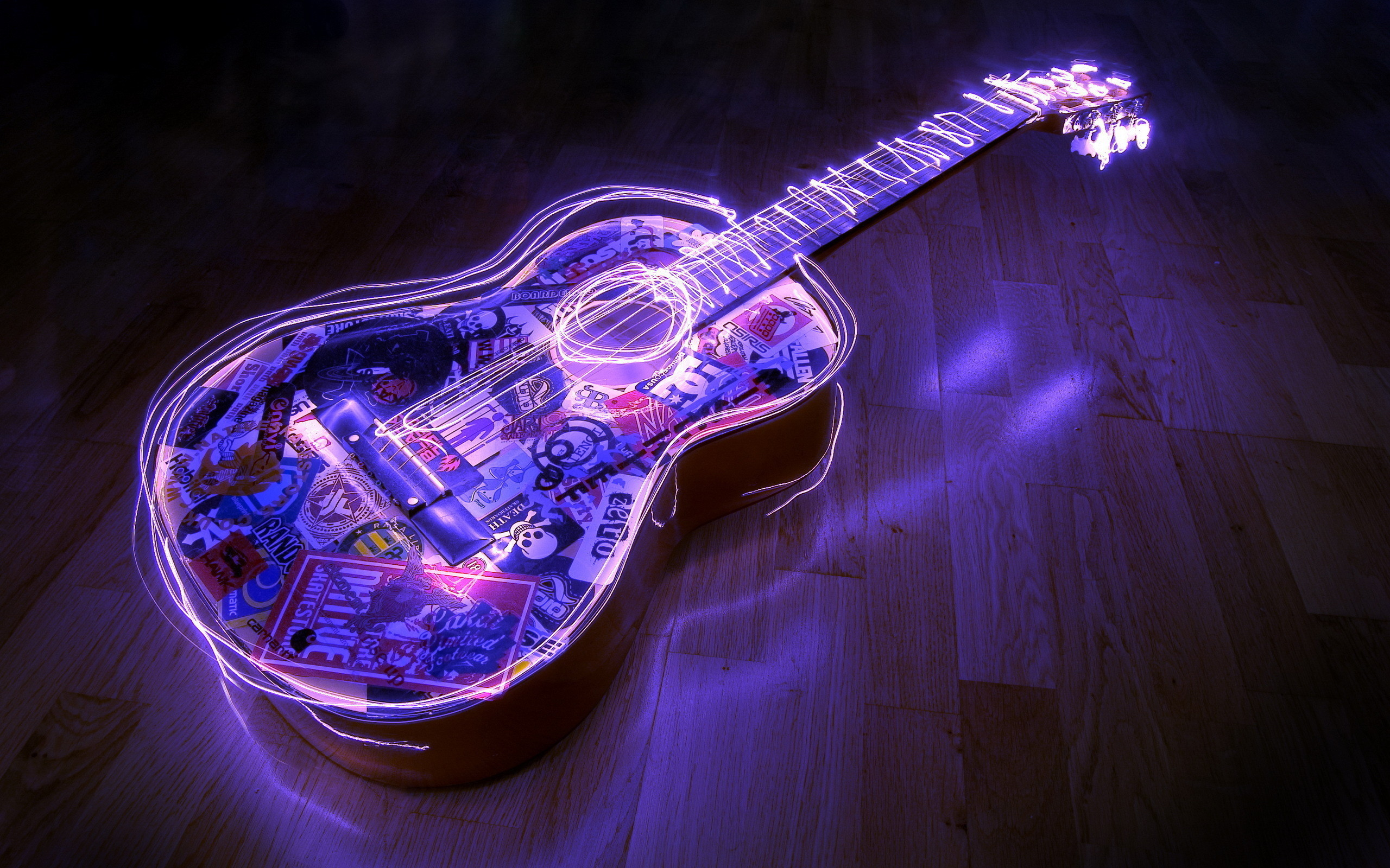 2560x1600  Glowing Guitar Wallpapers 7