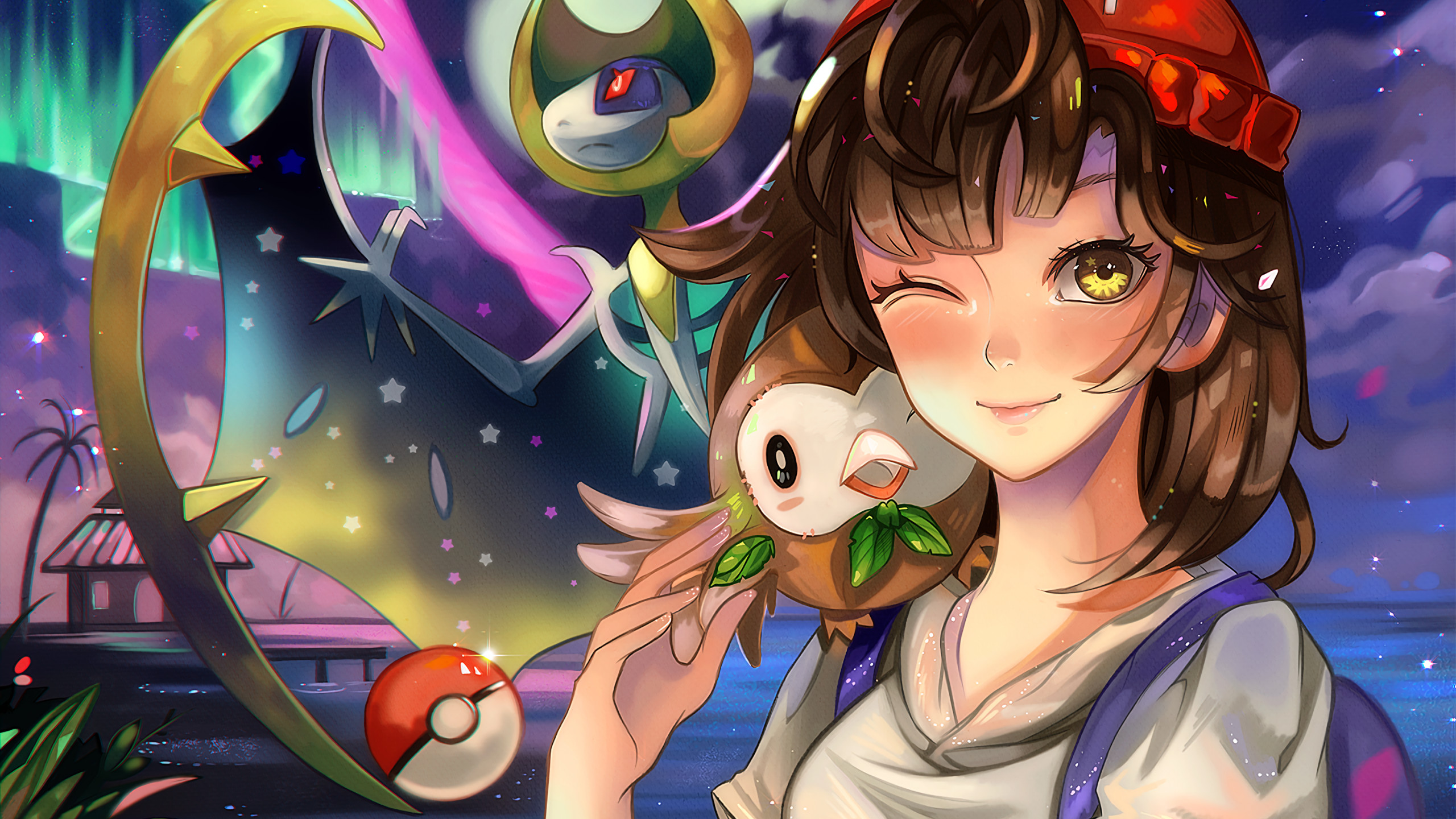 2560x1440 Pokemon Sun And Moon, Lunala, Rowlet, Wink, Anime Girl