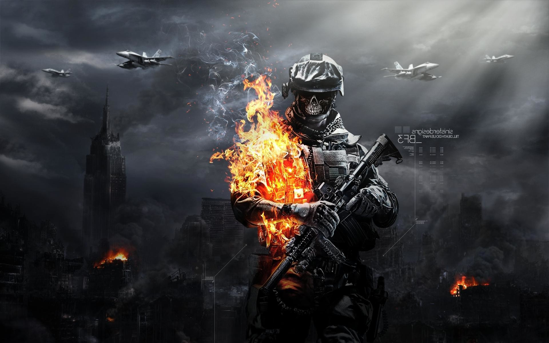 Cool Battlefield 4 Fire Armor In Black Background: Badass Wallpapers Of Skulls (61+ Images
