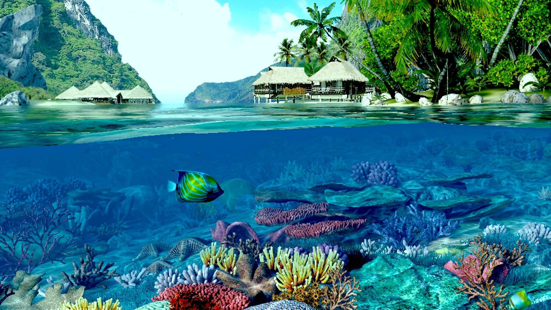 1920x1080 Deep Reef Two Houses Ocean Coral Beach World Indigo Fish Land Worlds Water  Wallpaper For Iphone