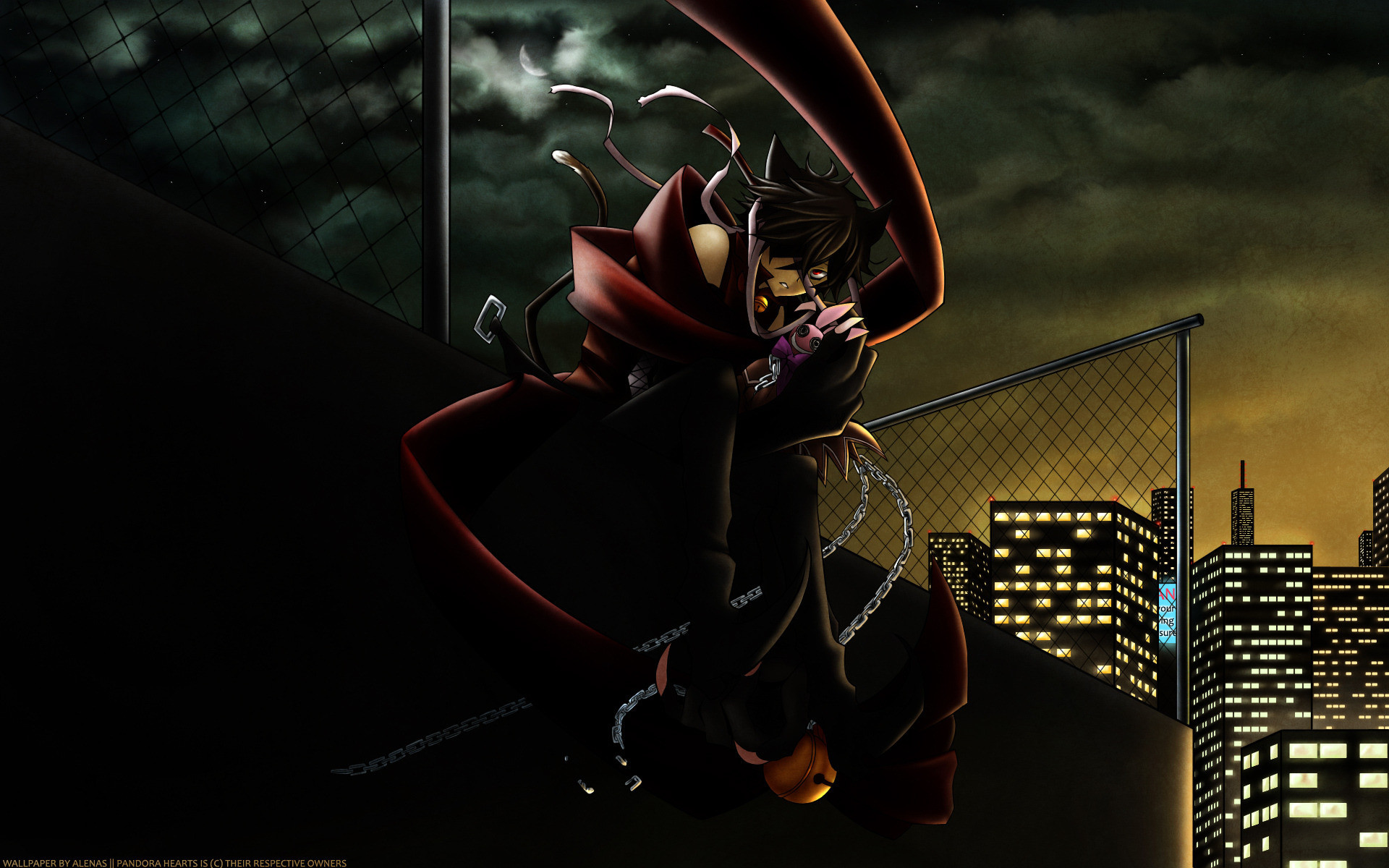 1920x1200 Anime warrior in dark city
