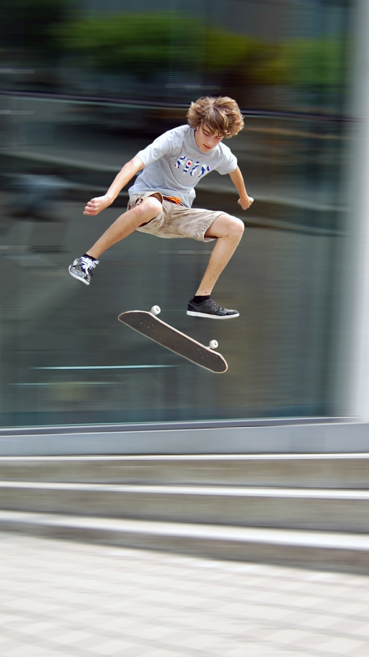 1440x2560  Wallpaper jump, skateboard, board, guy, trick, extreme, steps